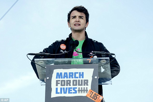 Matthew Soto (pictured), whose sister Victoria was killed during the Sandy Hook shooting, also gave a rousing speech during the march
