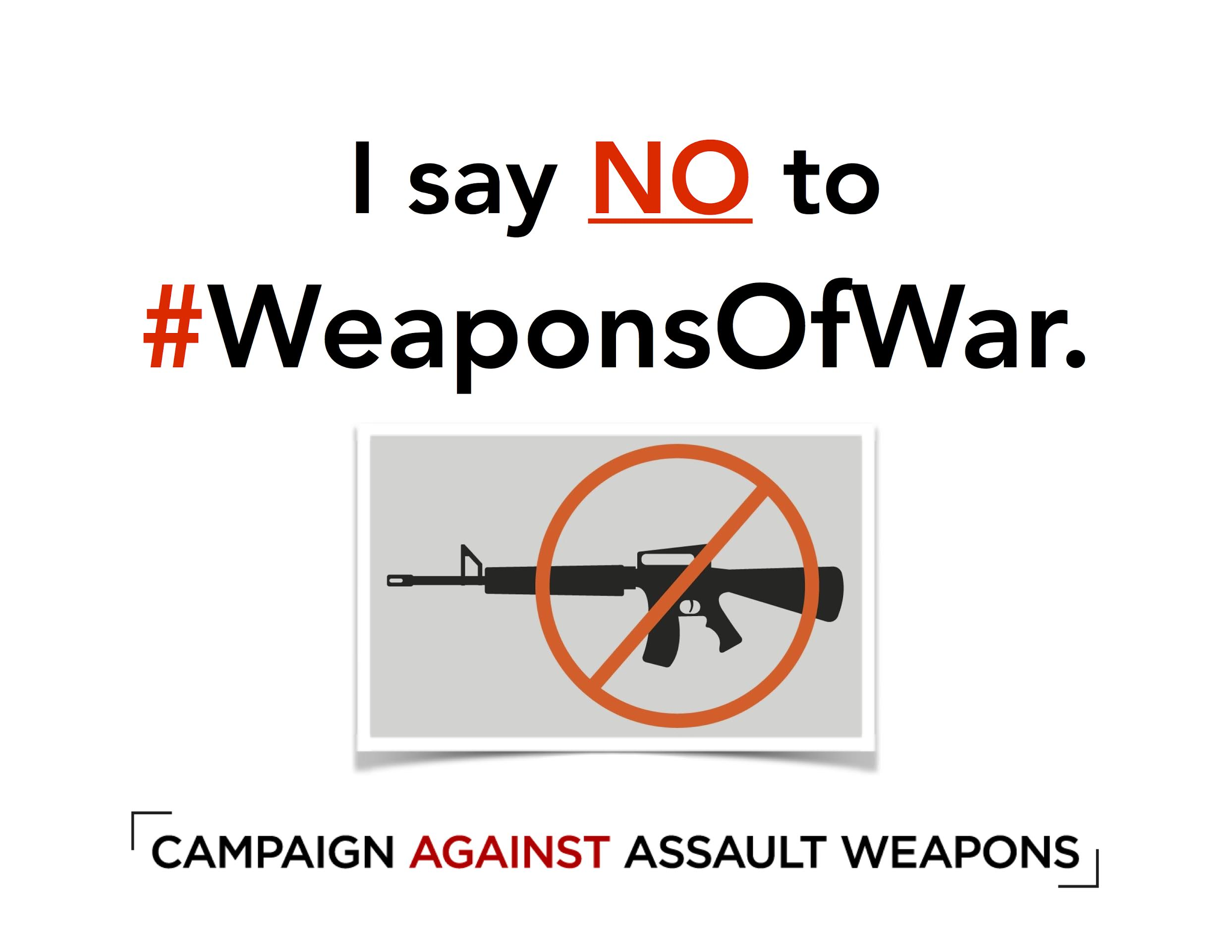 Say NO to #WeaponsOfWar by signing the #CampaignAgainstAssaultWeapons petition! - PETITION BACKGROUND: Thoughts and prayers are not enough. Because Americans deserve a strong response from the federal government, 290+ gun violence prevention groups, chapters and allies have joined the Campaign Against Assault Weapons to ban #WeaponsOfWar to keep our families and communities safe. We invite you to join our campaign by signing our coalition petition.