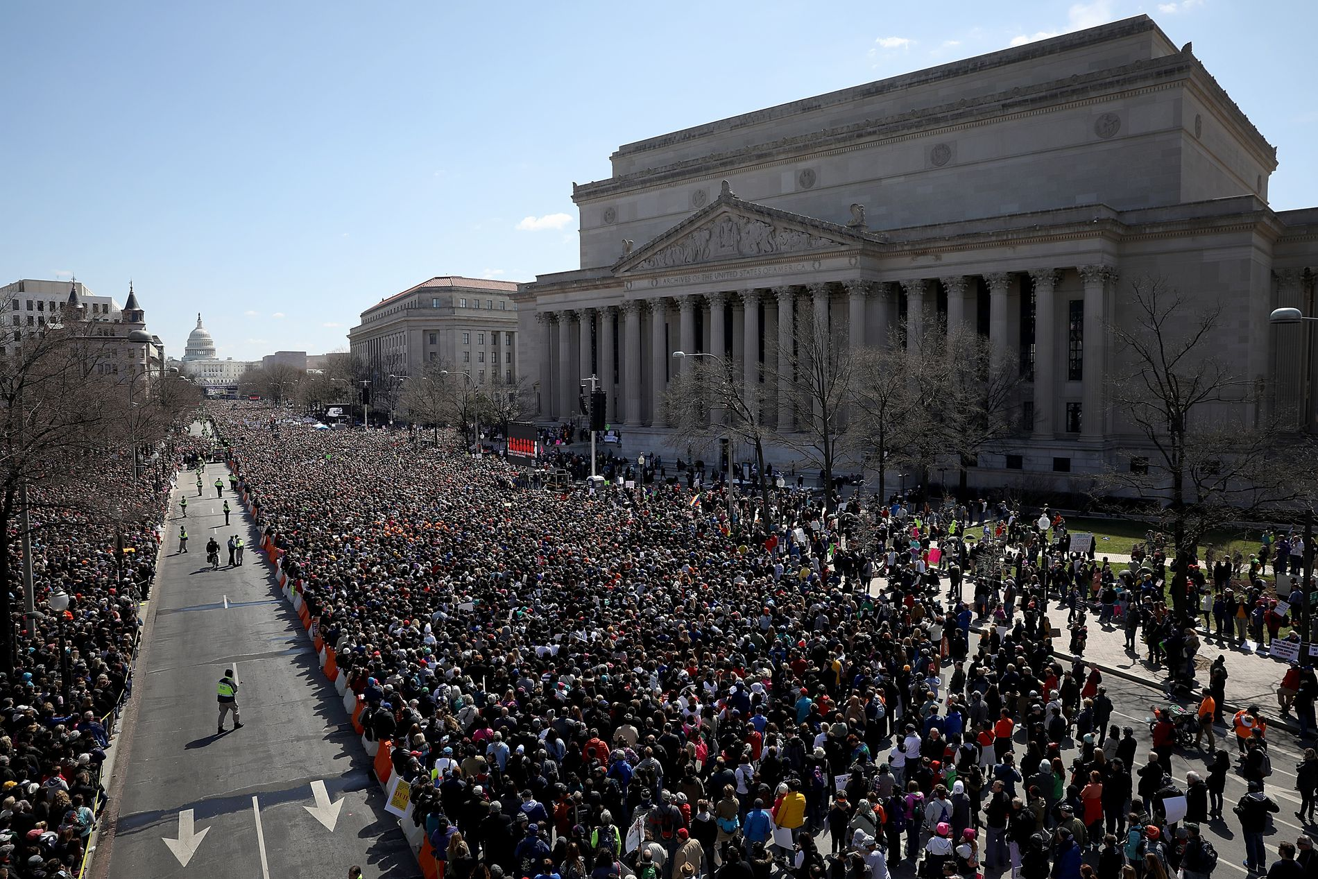 Thousands of people line Pennsylvania Avenue in Washington while attending the March for Our Lives rally on March 24, 2018, to call for gun-control measures. Hundreds of thousands of demonstrators, including students, teachers and parents gathered for the anti-gun violence rally.  WIN MCNAMEE/GETTY IMAGES