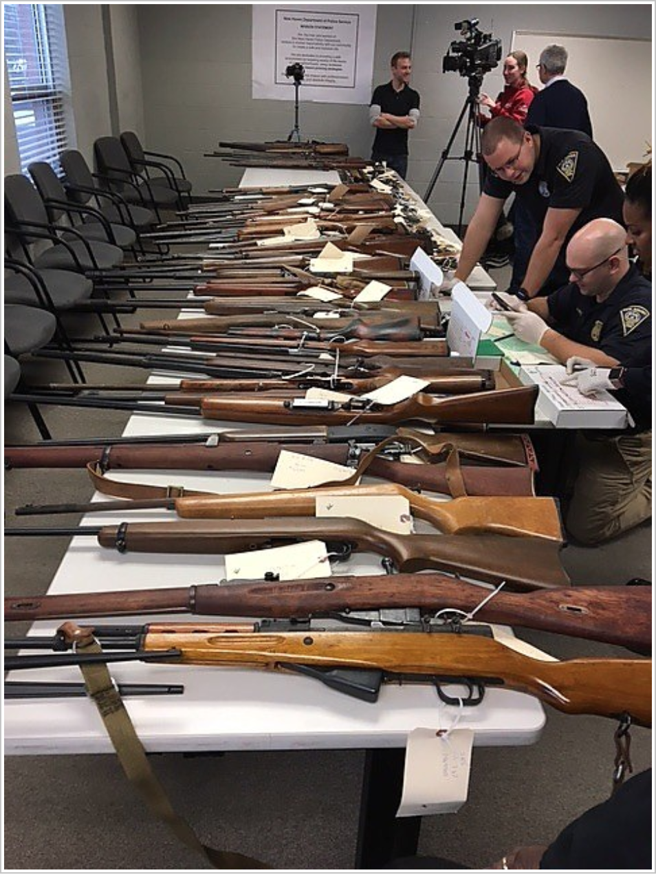 Some of the 138 guns collected Saturday.