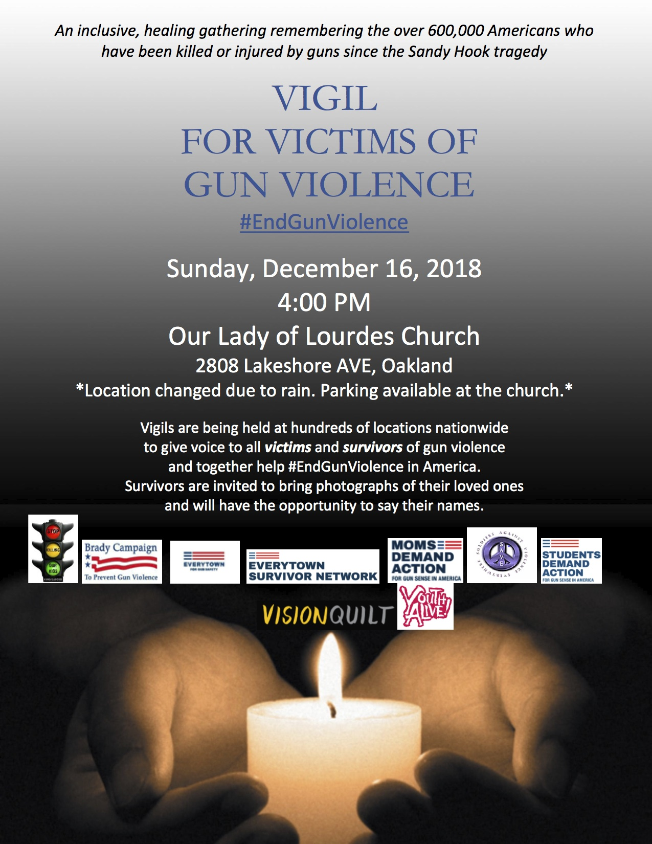 Submit Your Posters/Photos/Articles of Your Vigils/Events - We hope to compile a list of all the vigils/events in the nation.