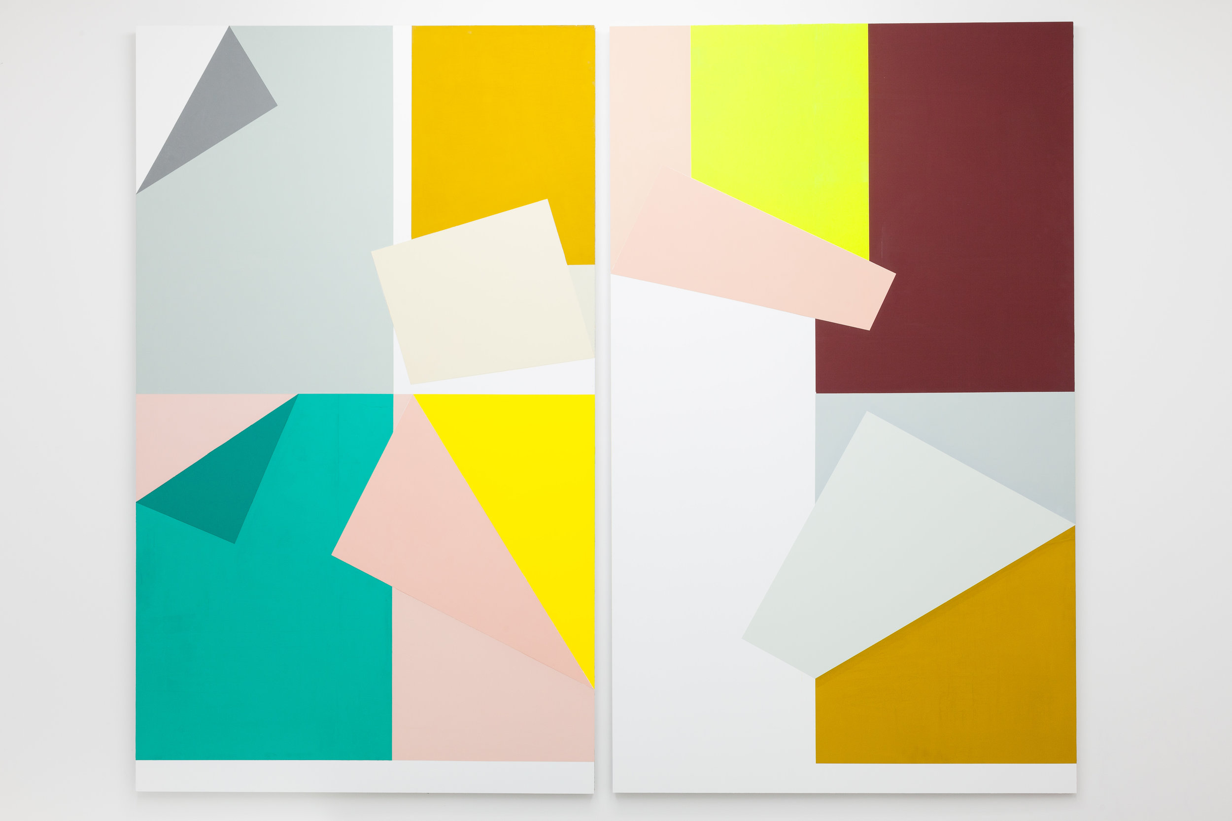 Collected Colors # 6 . Vinyl and acrylic on alucore. Diptych. 208 x 125 cm. each panel. Overall 255 cm.