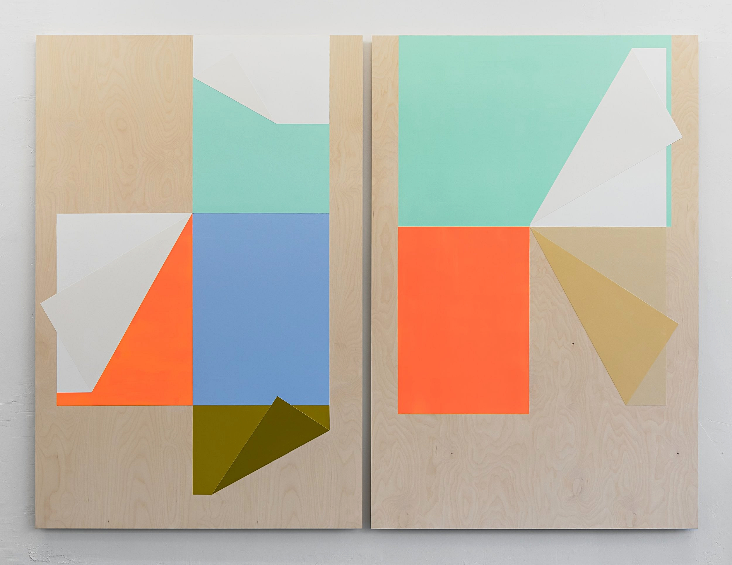 Untitled (Diptych), 2016. Acrylic and gesso on birch plywood. 2 panels 180 x 120 cm. Overall 180 x 244 cm