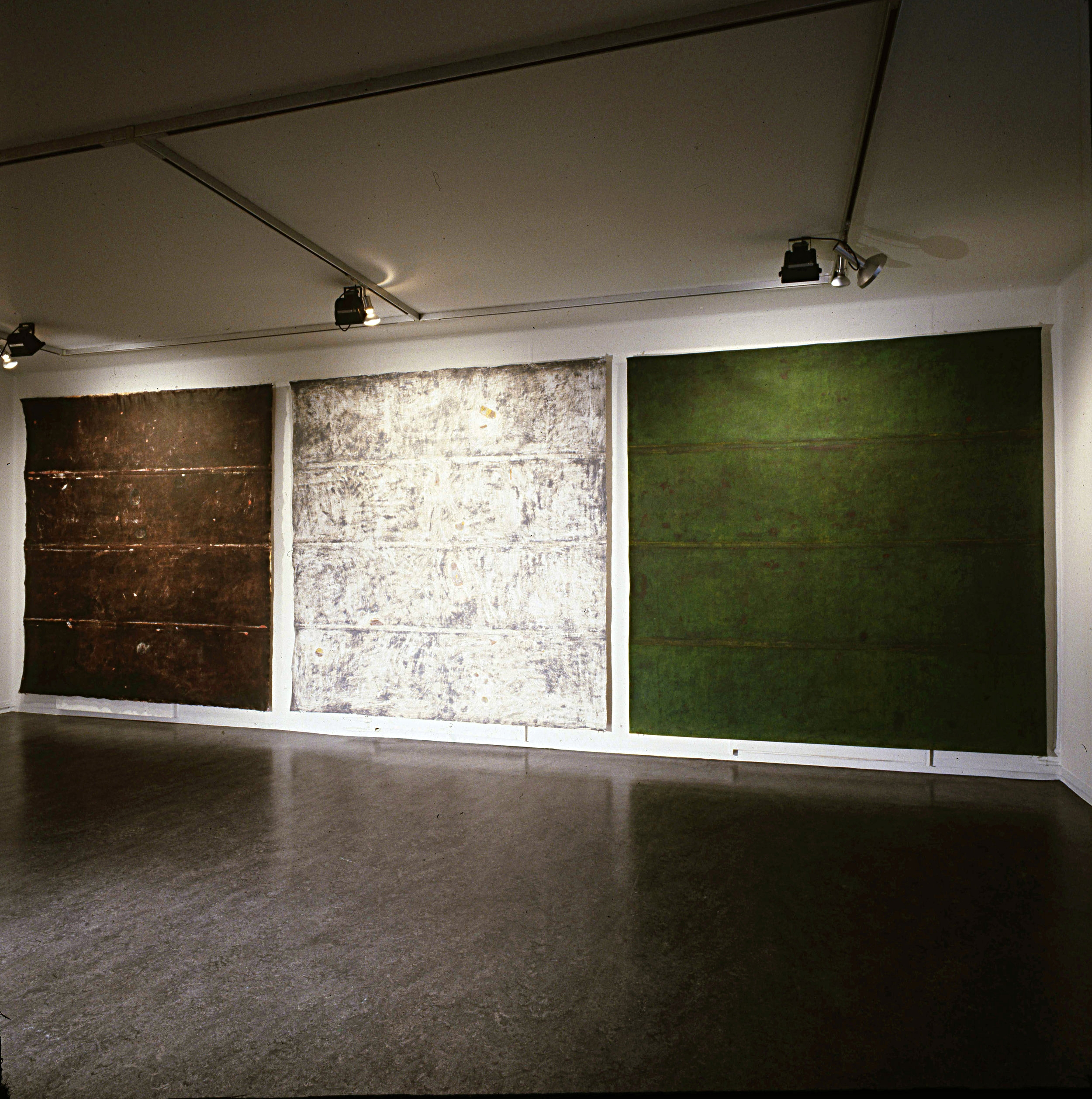 Installation view Kunstnerforbundet Oslo.  Tundra I II III.  1992. Pigment on cotton canvas. 240 x 240 cm.