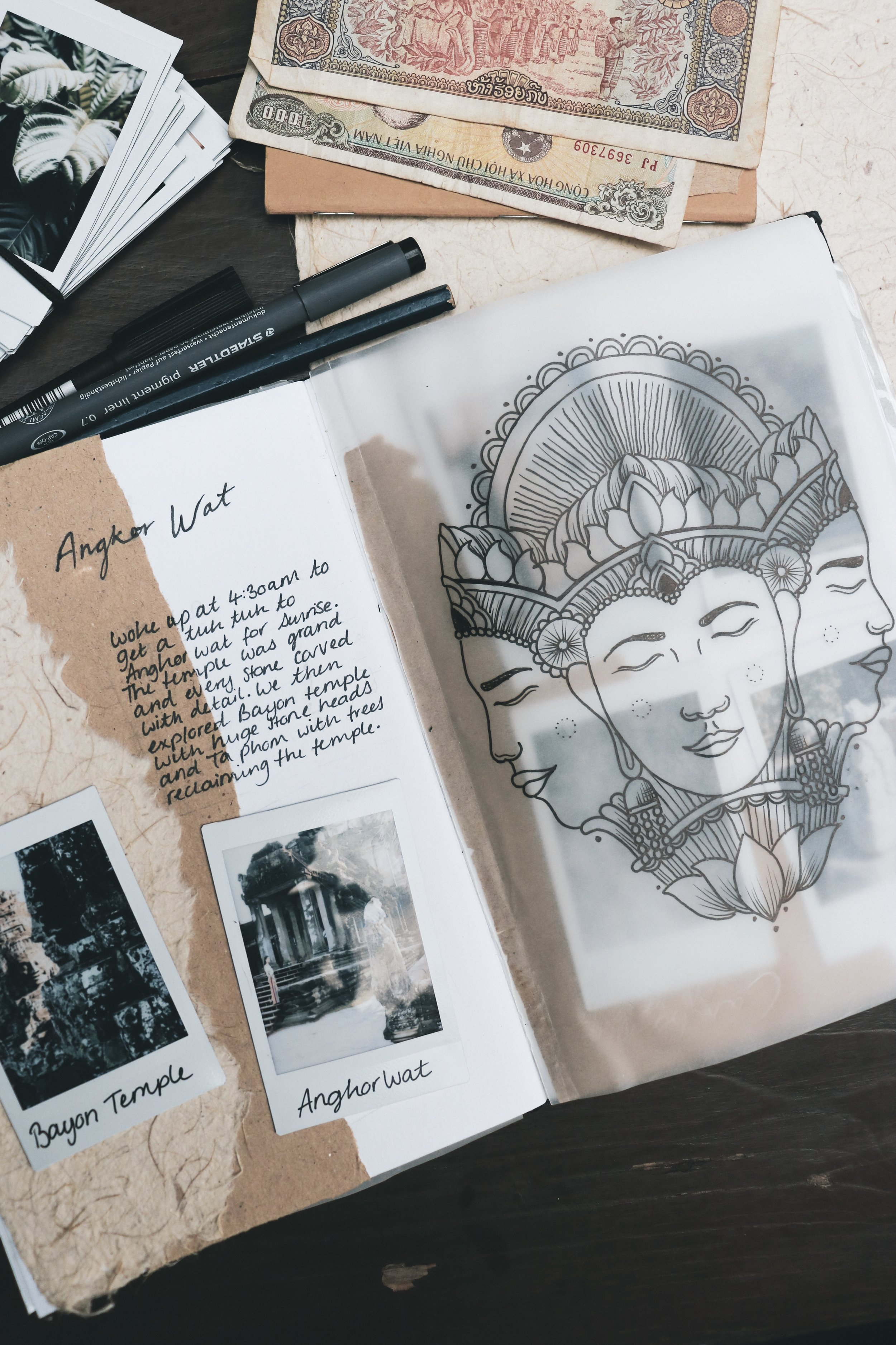 Journal Illustration Inspired by the Temple of Bayon, drawn while travelling through Cambodia.