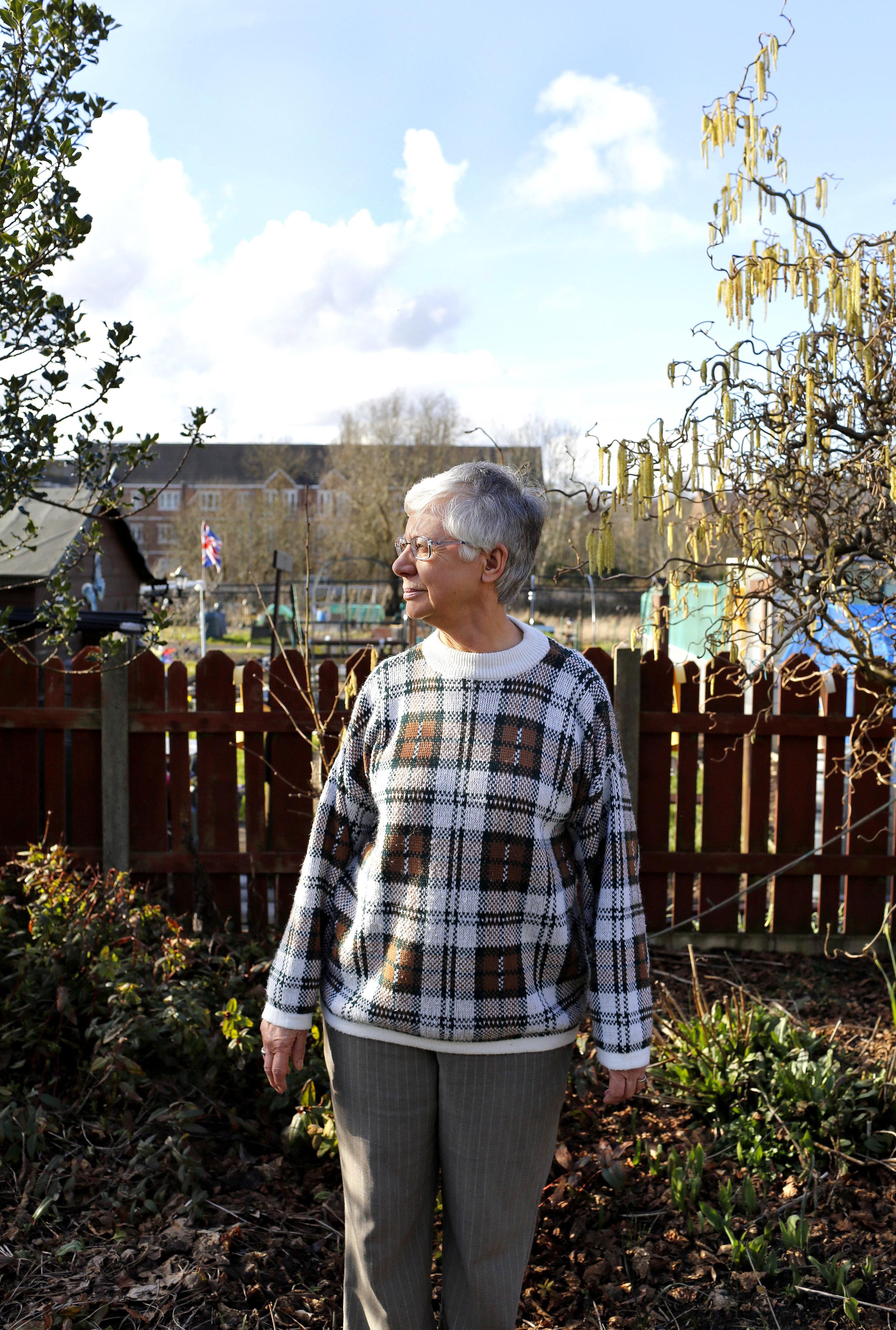 Hazel Griffiths in her garden in Austin Village. Photographed March 2018 by Stephen Burke.