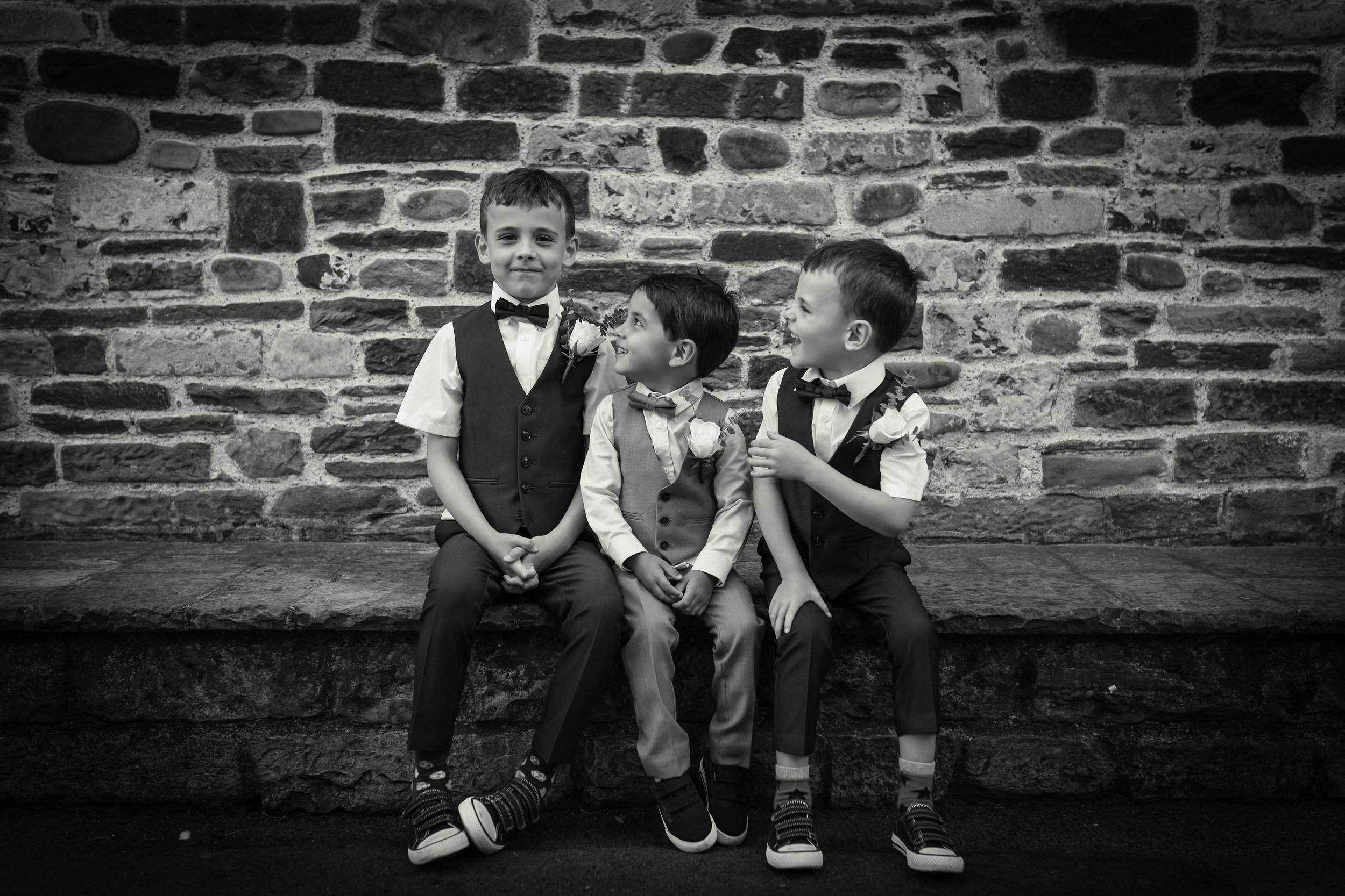 Bride and grooms son with cousins, Cardiff Wedding