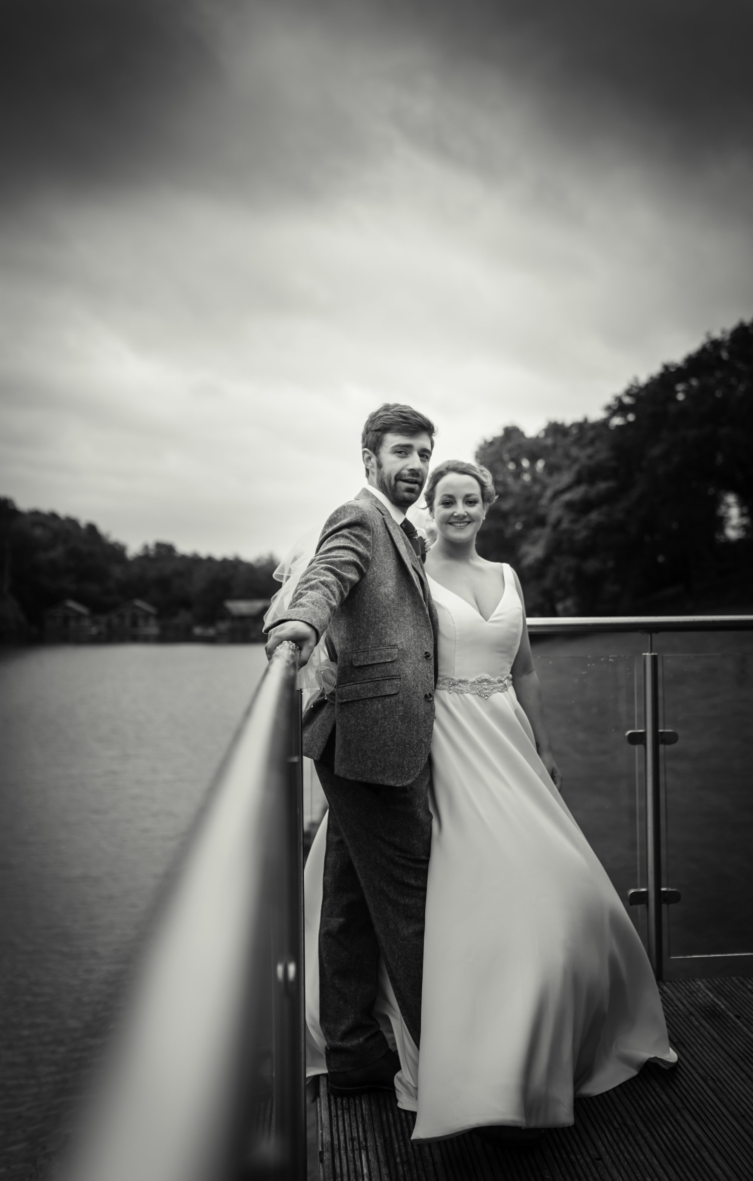 Black and white portrait of bride and groom, South Wales wedding