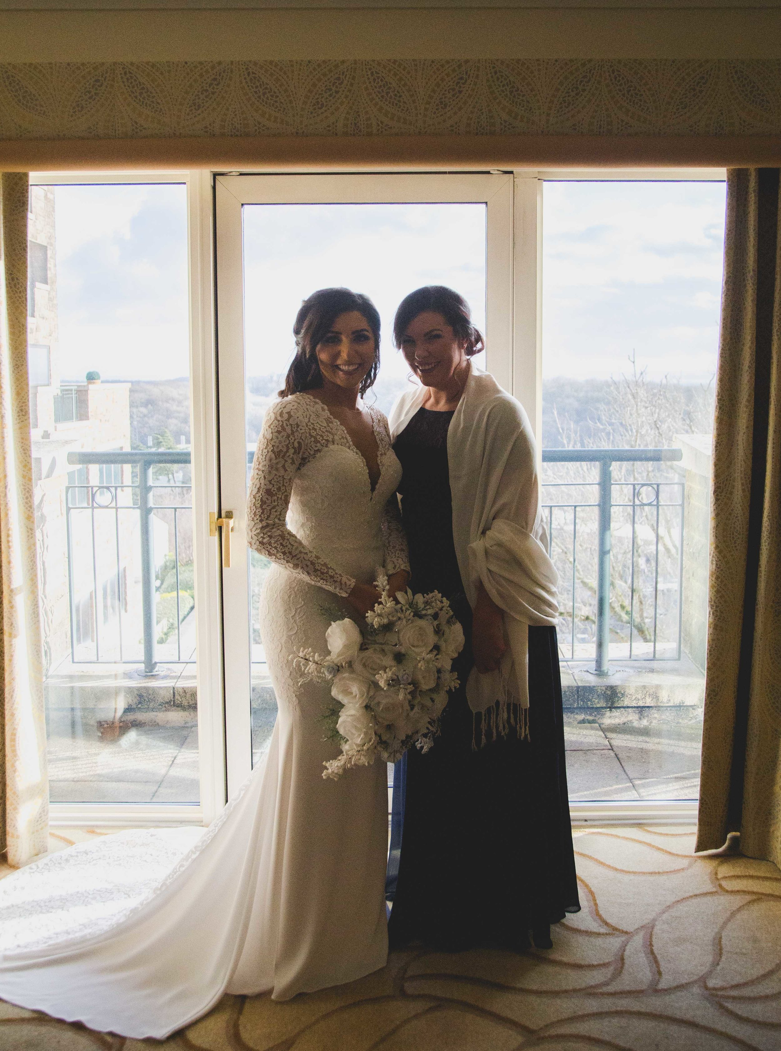 Portrait of bride with her bridesmaid