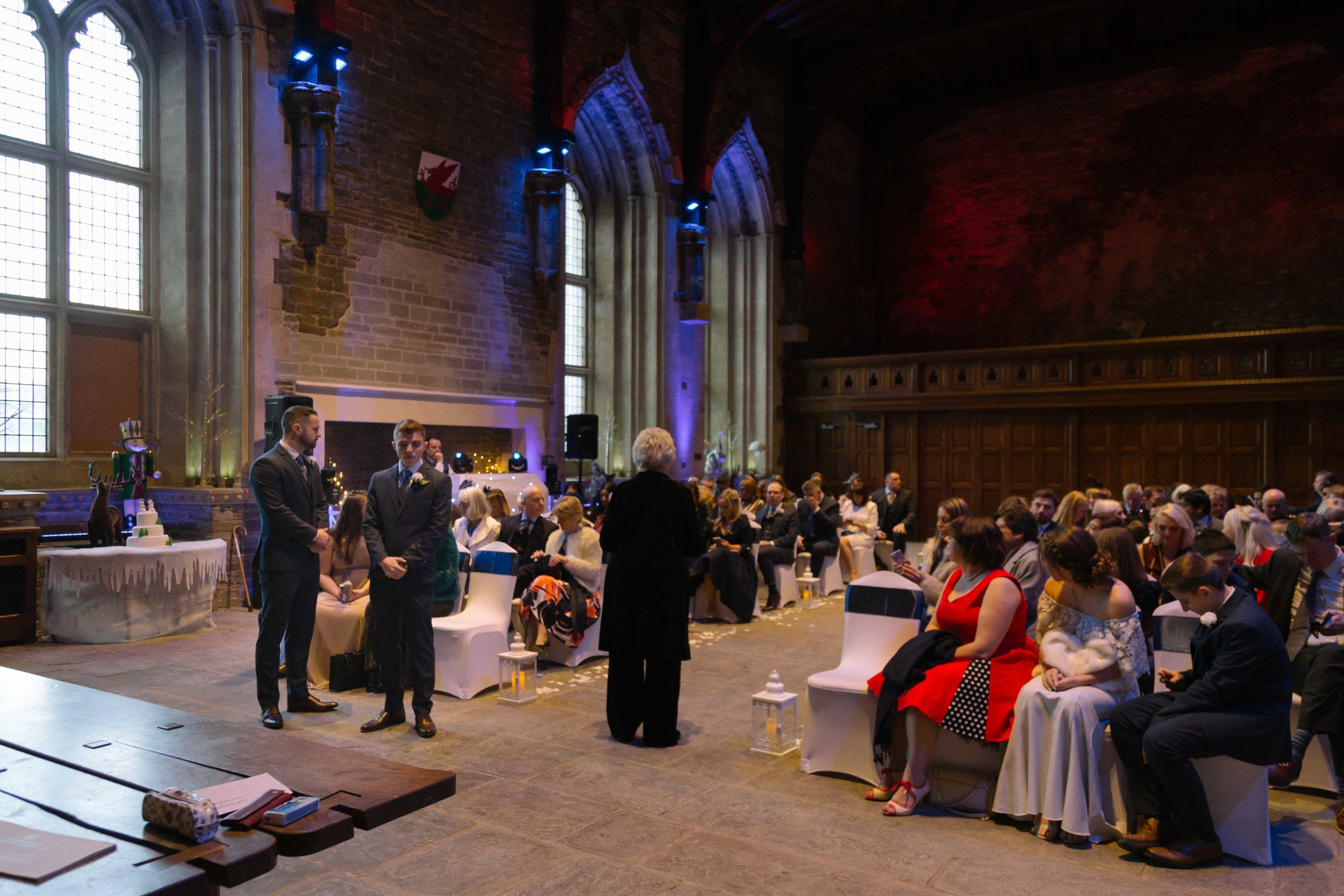 Photograph of the groom wedding for the brides arrival at the great hall at Caerphilly Castle