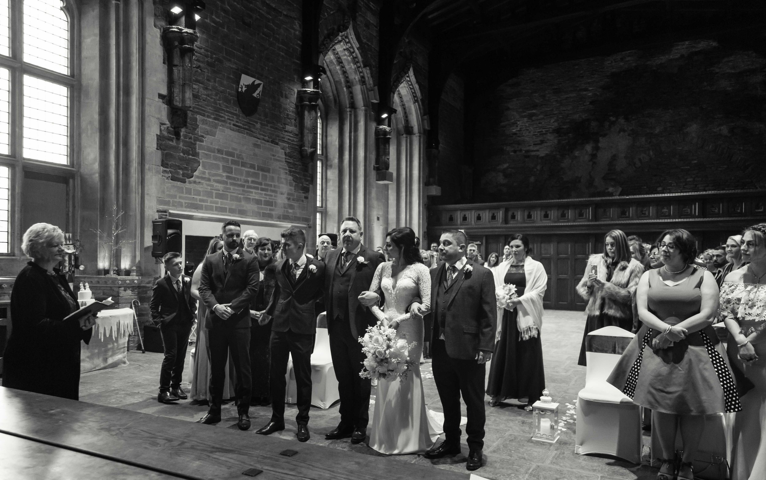 Wedding ceremony at Caerphilly Castle, The Great Hall