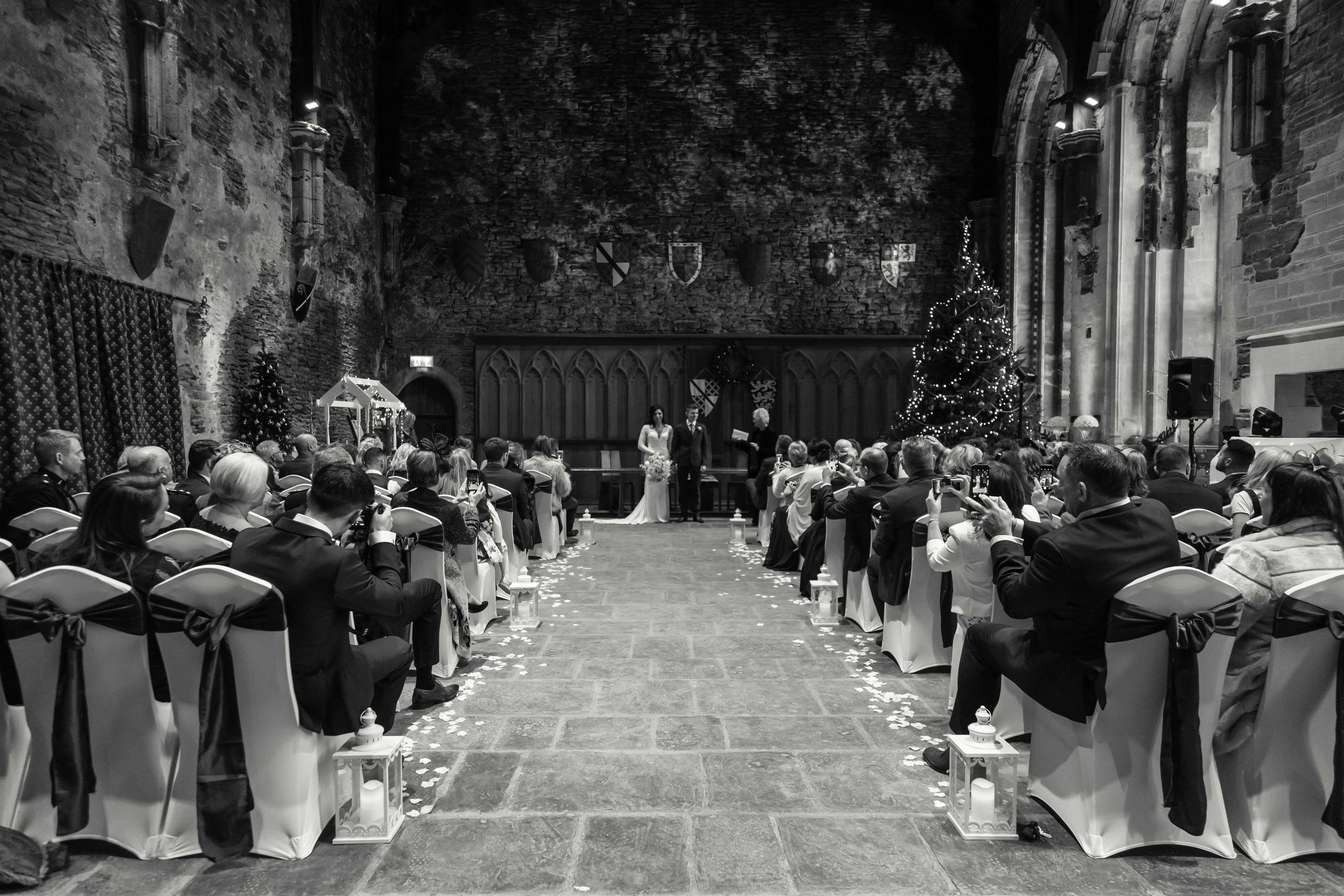 The wedding party at the Great Hall, Caerphilly Castle