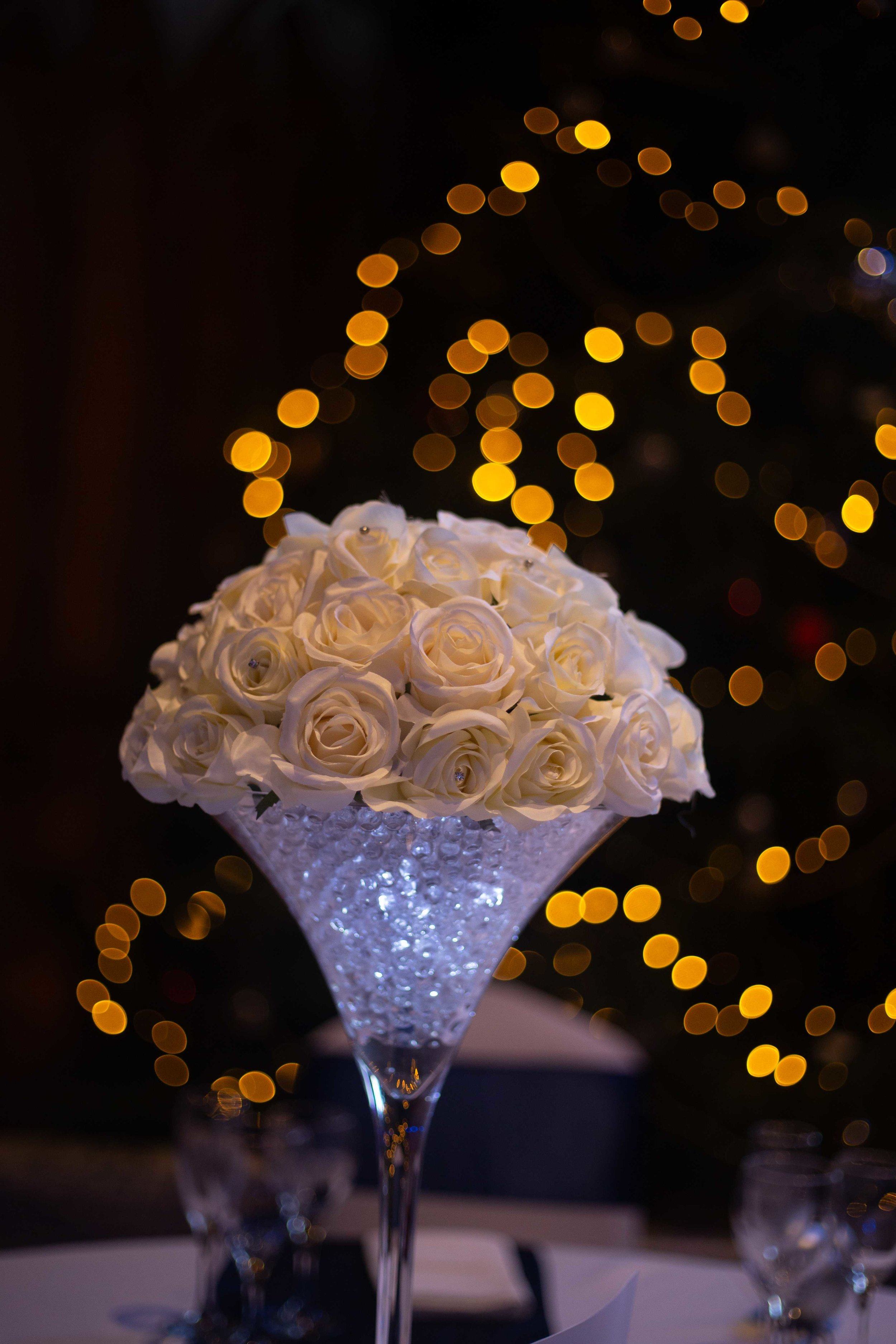 Close up image of table decoration at a South Wales Wedding