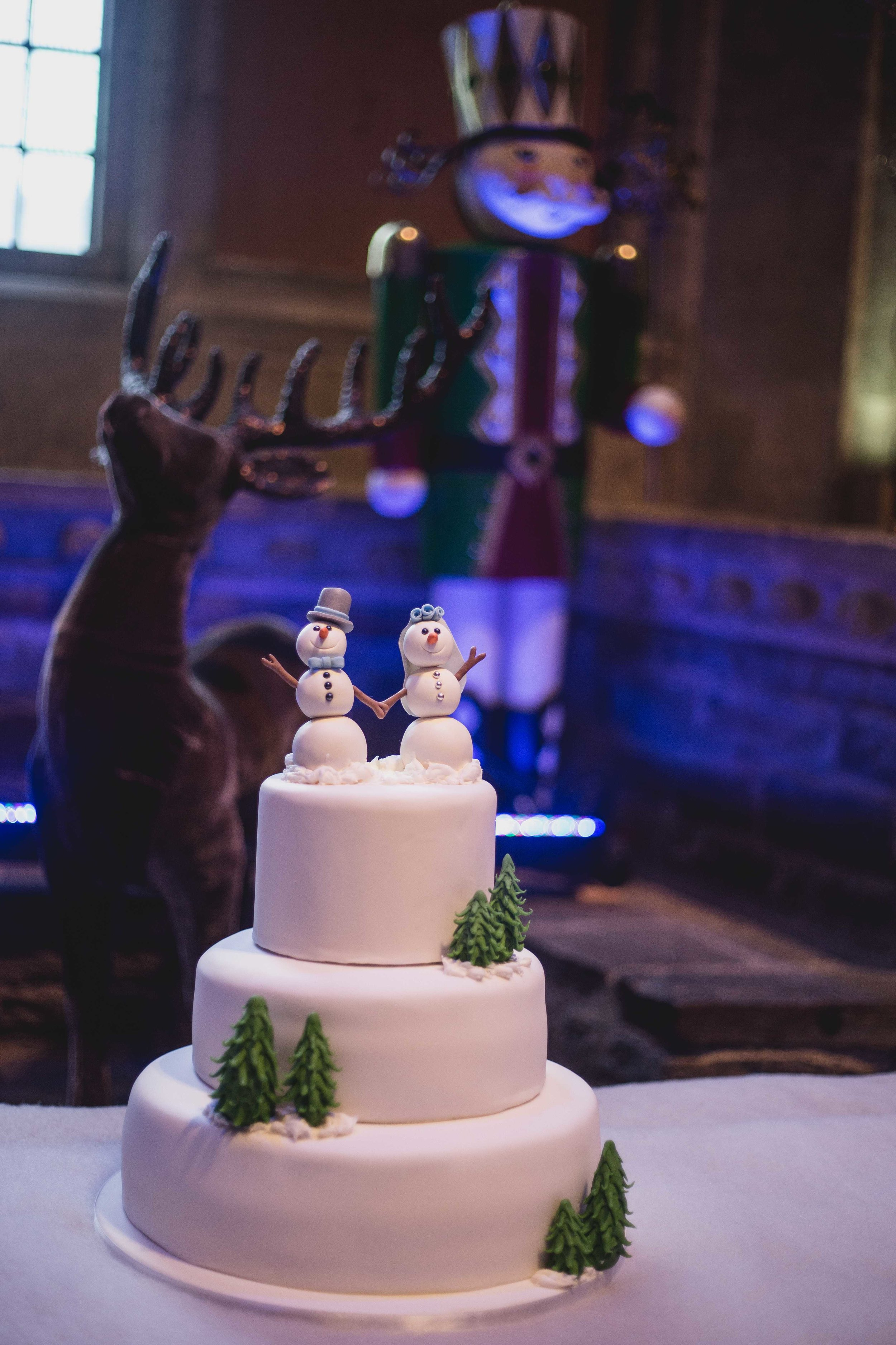 Close up image of a christmas themed wedding cake