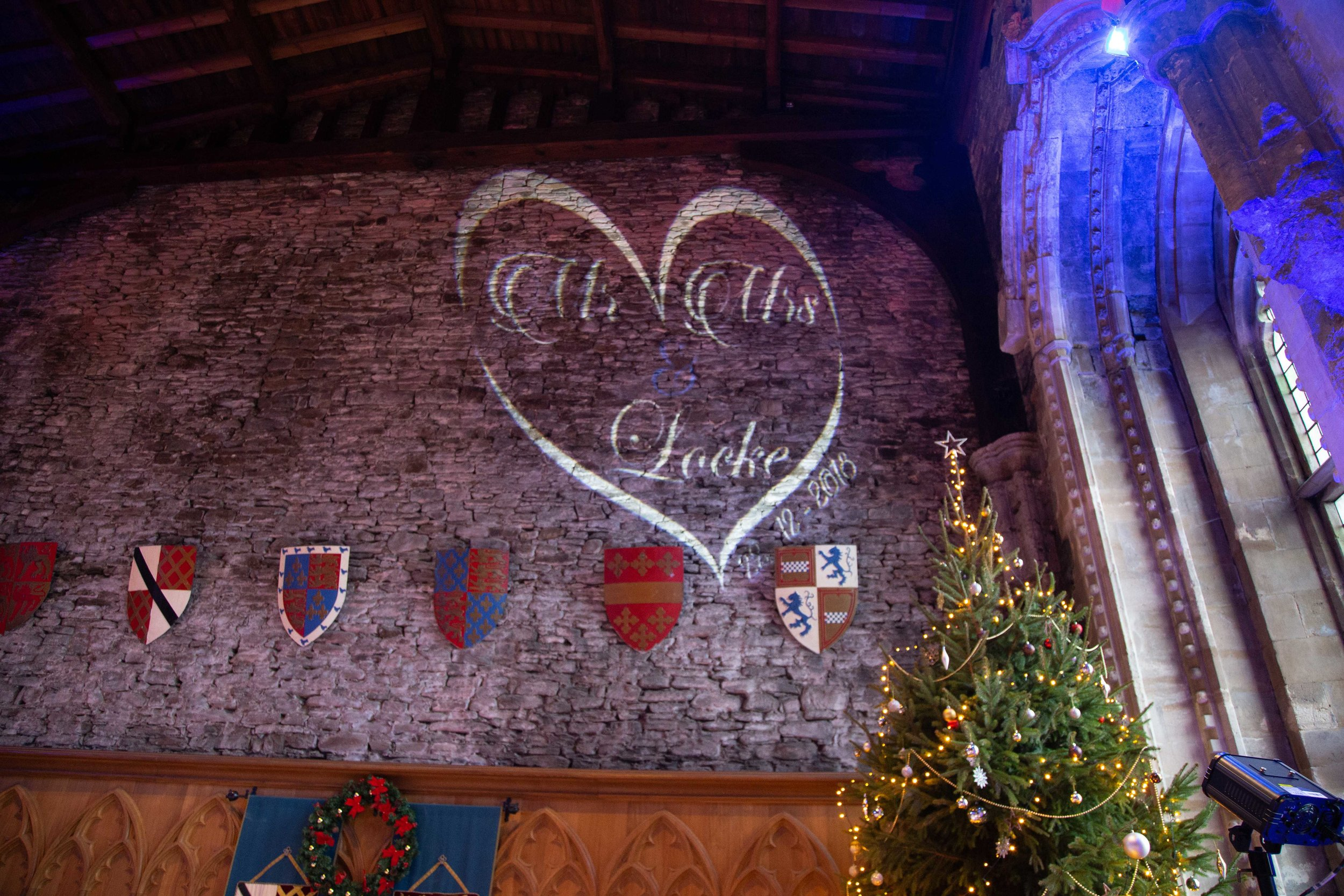 The Great Hall at Caerphilly Castle decorated for a christmas wedding