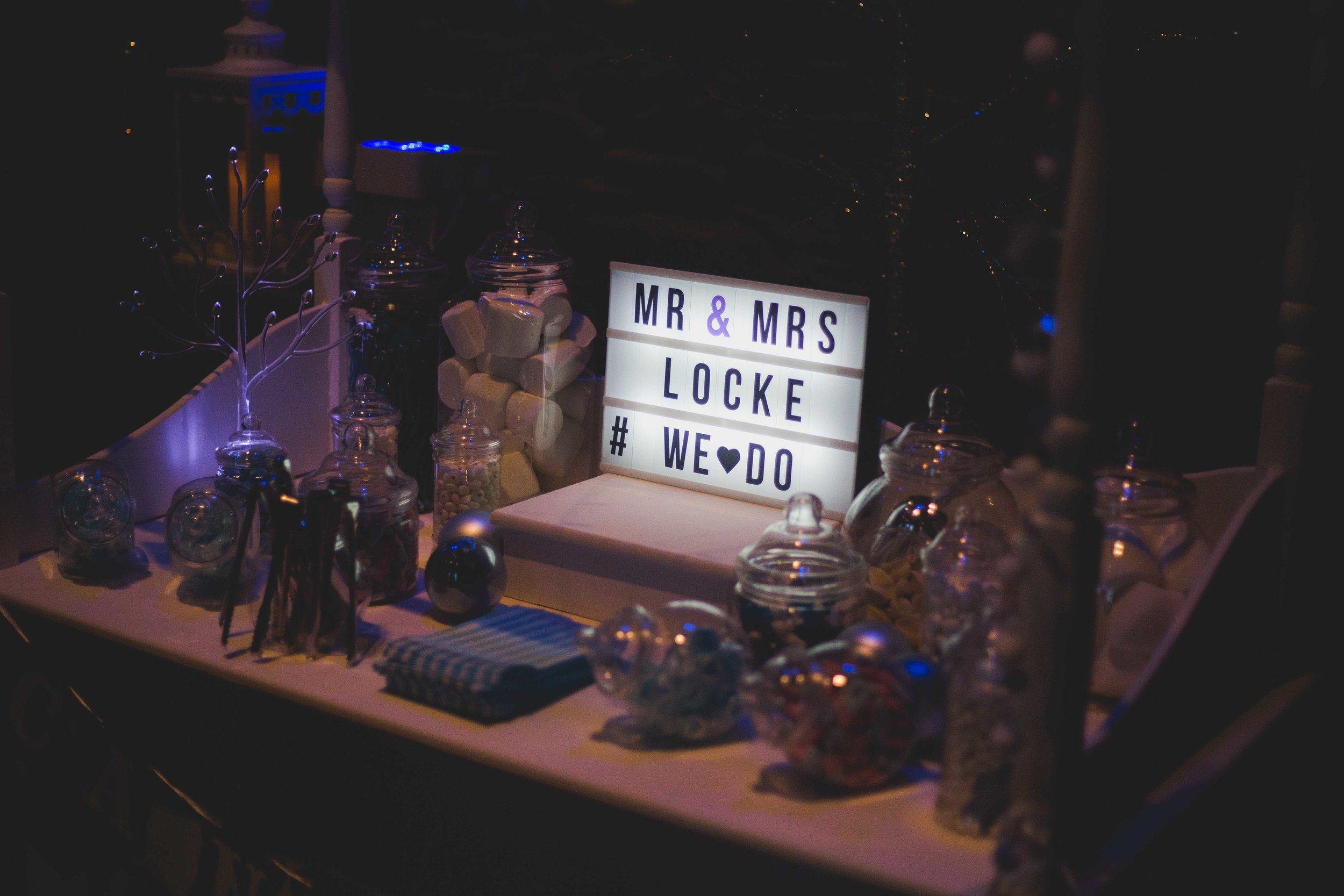 Close up image of a sweet cart at a wedding in South Wales