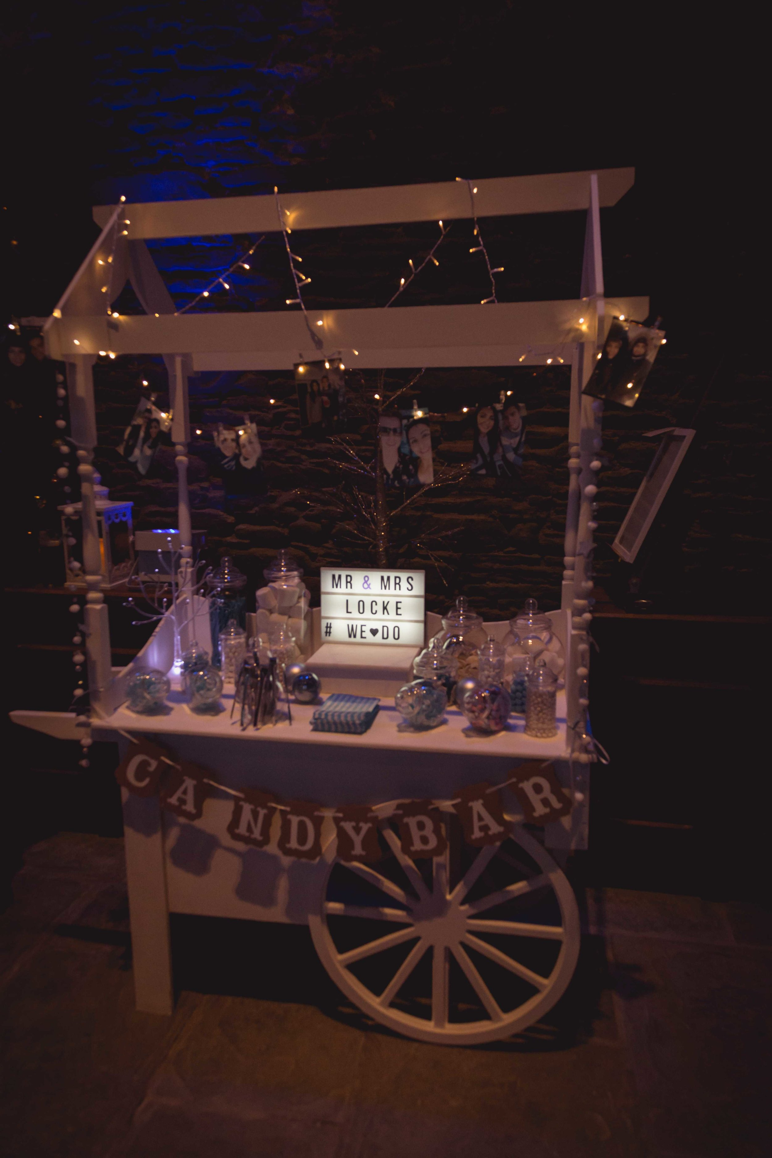 Close up image of a sweet cart at a wedding in Caerphilly