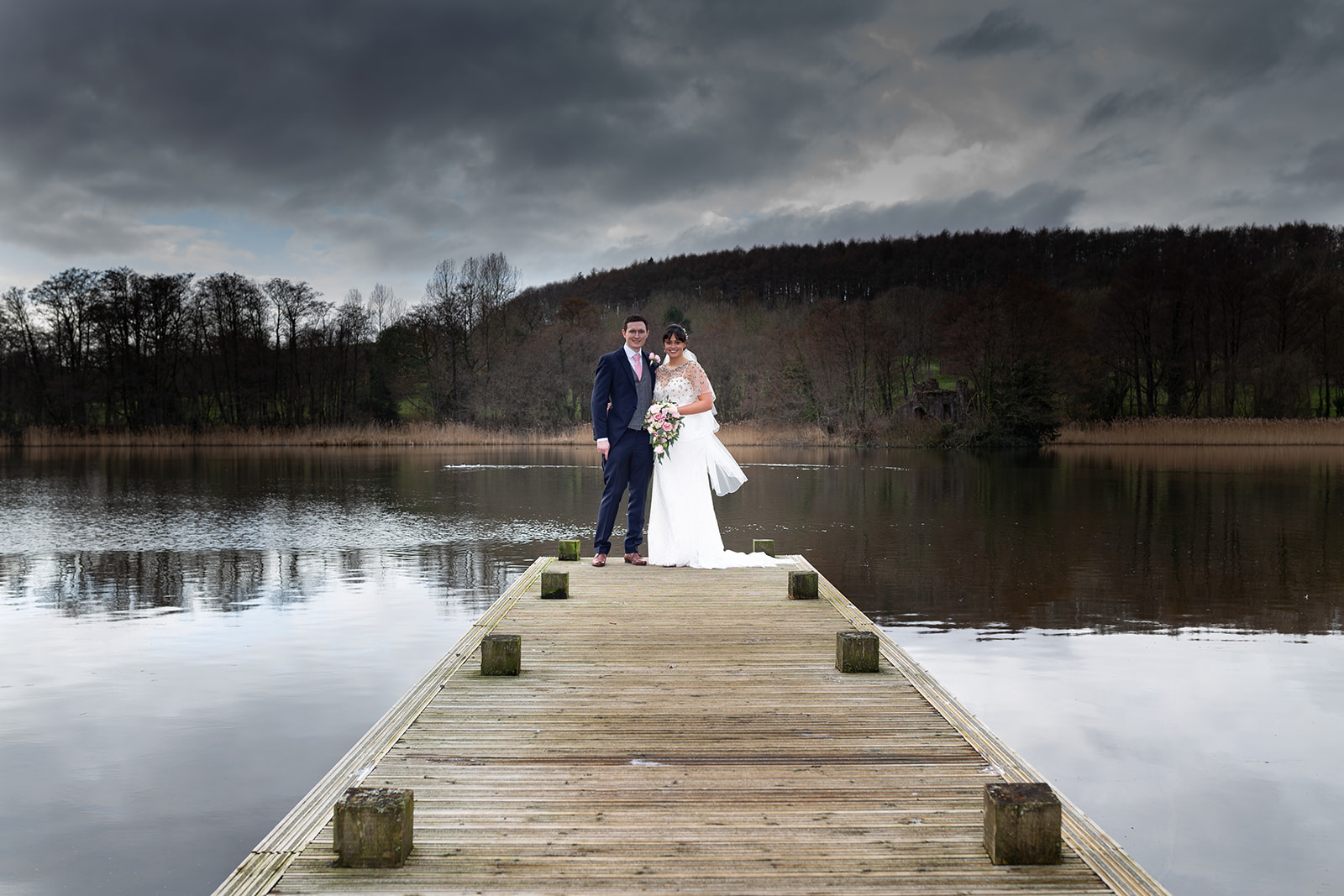 Portrait photograph of bride and groom at their wedding at Vale resort in South Wales
