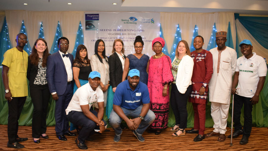 Representatives of the Nigerian government, IAPB, CBM and Standard Chartered officially launched a three-year intervention programme to prevent childhood blindness and visual impairment in Nigeria. Copyright SiB