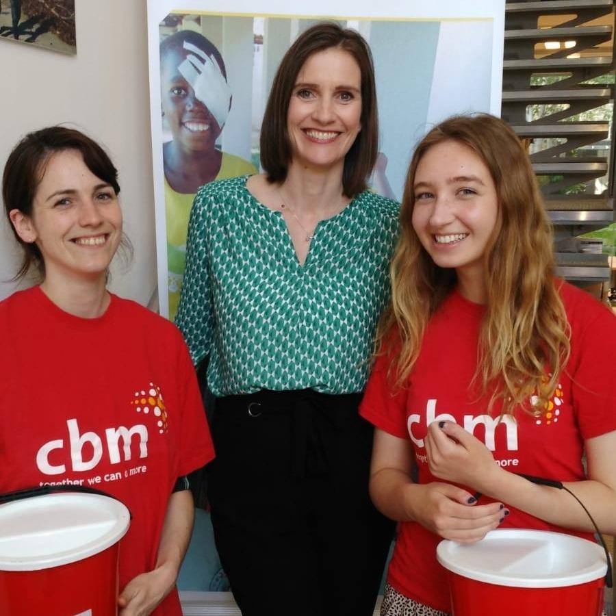 CBM Ireland CEO, Sarah O'Toole, with Garden Festival Volunteers Clare and Caitlin