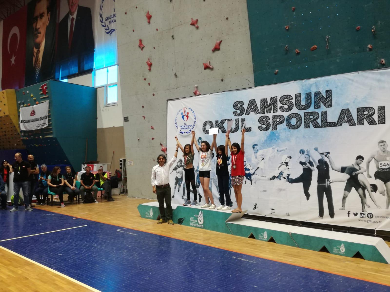 - 04 - 06 Haziran tarihlerinde Samsun'da gerçekleştirilen; Okullararası Küçükler Spor Tırmanışı Türkiye Birinciliği Müsabakaları'nda, okulumuz 5/B sınıfı öğrencisi, Melis Pehlivan Türkiye Dördüncüsü oldu. Tebrikler Melis!