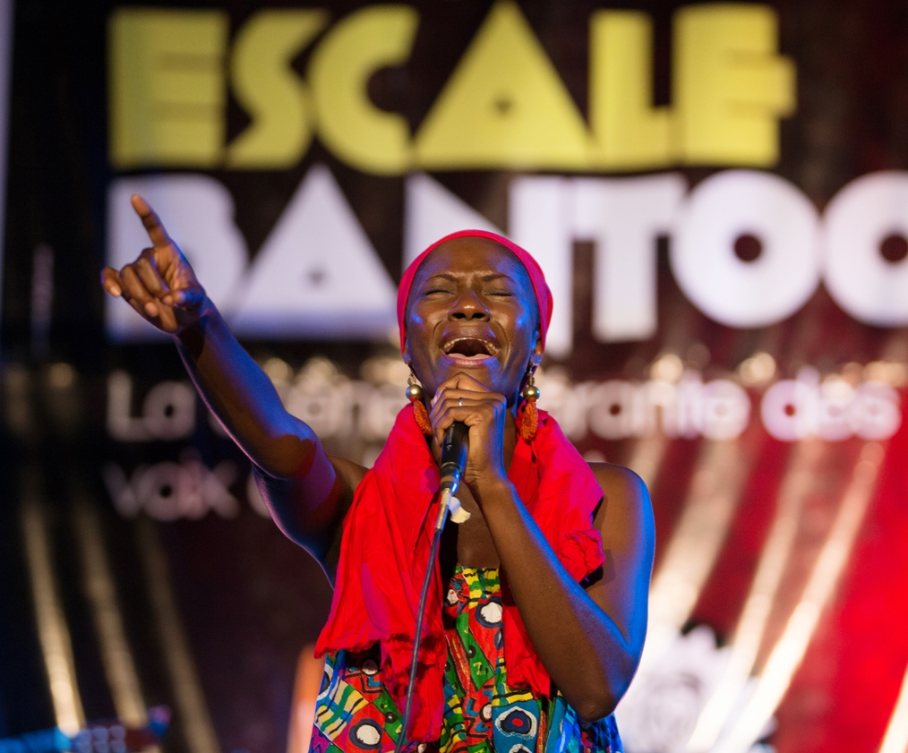 "Cameroonian vocalist Gaelle Wondje performing songs from her new album ""Ening"" at Scene Bantoo. Wondje is touring as a leader after years of work with other artists, mixes makossa and world rhythms, knowledge gained from her experience collaborating with international artists."