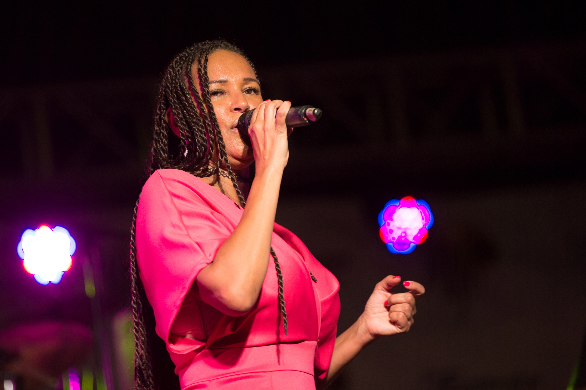 Cape Verdean vocalist Maria de Barros, performing barefoot as did her godmother Cesaria Evora, and her band on stage at MASA 2018. She is also putting the finishing touches on her 4th album. Luminous Coladeiras, both fast and slow, had the crowd swaying, before she finished with a driving funana.