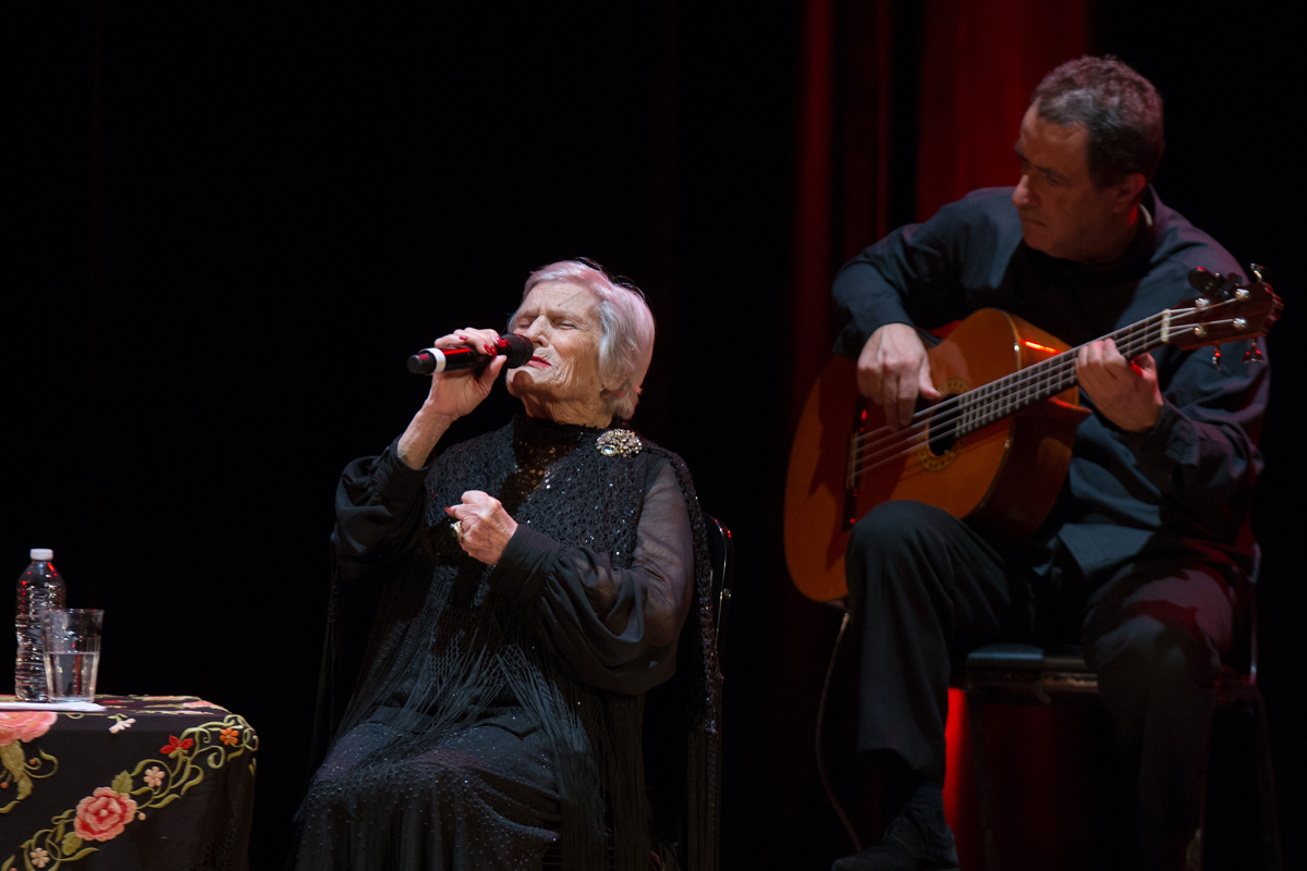 Celeste Rodrigues, a fado legend at age 95, on stage at Town Hall in Manhattan.