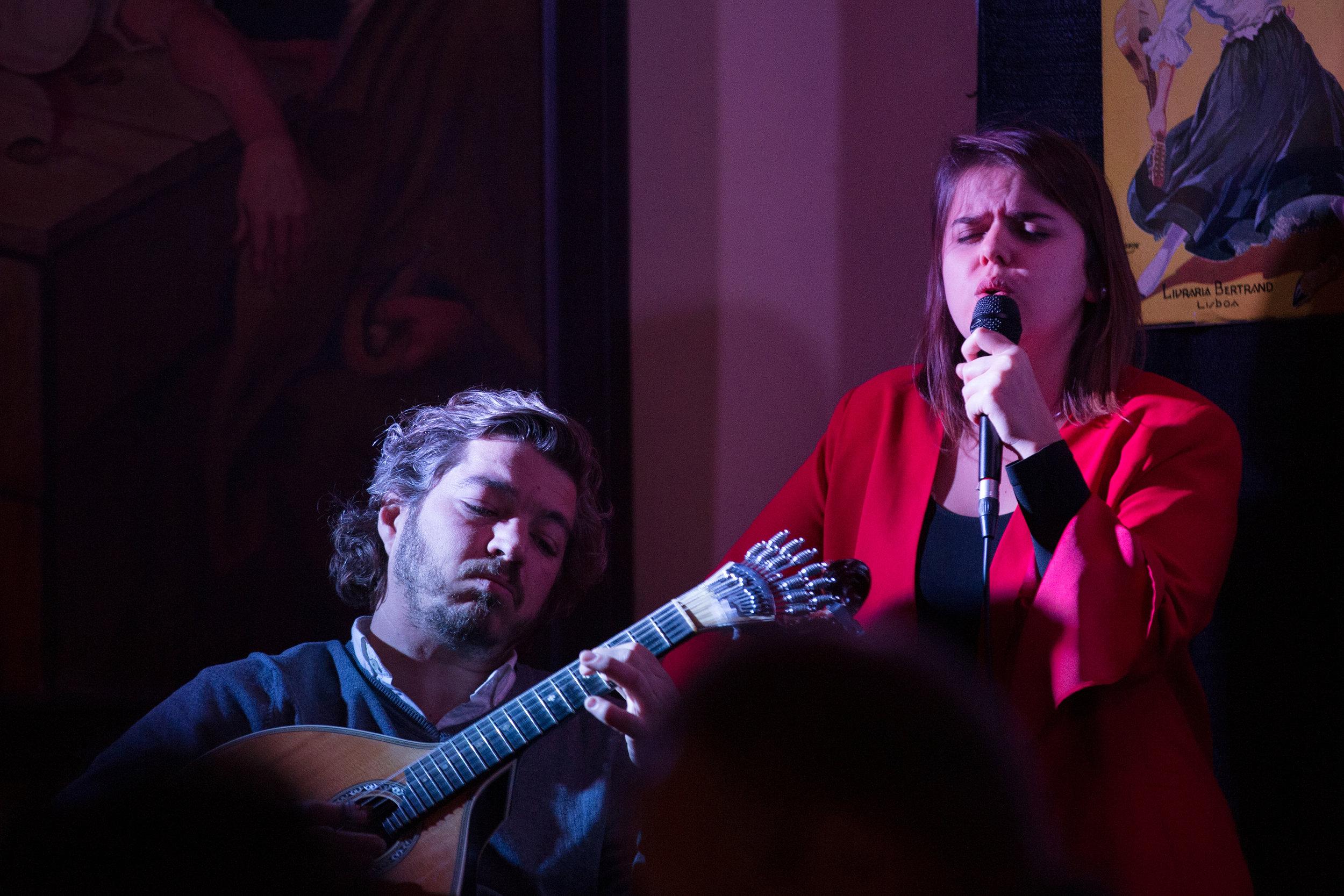 Teresinha Landeiro singing fado accompanied by Pedro de Castro on Portuguese guitar at the Sports Club Portugues in Newark's Ironbound neighborhood, part of Livesounds Fado Festival