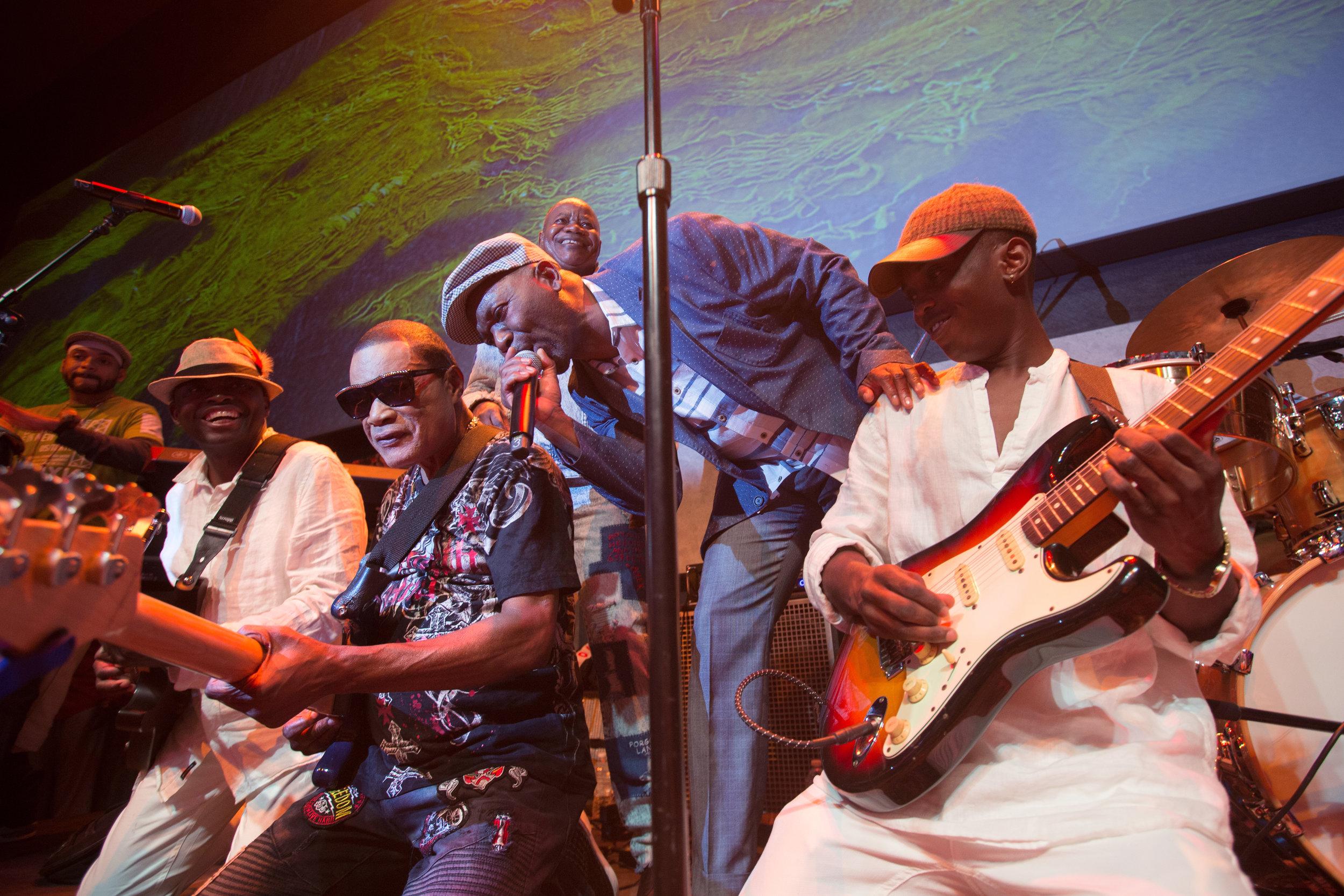 (L-R) Elie Kihonia, Ngouma Lokito, bass; Luciana Demingongo, vocals; Yonhi Sungu, guitar