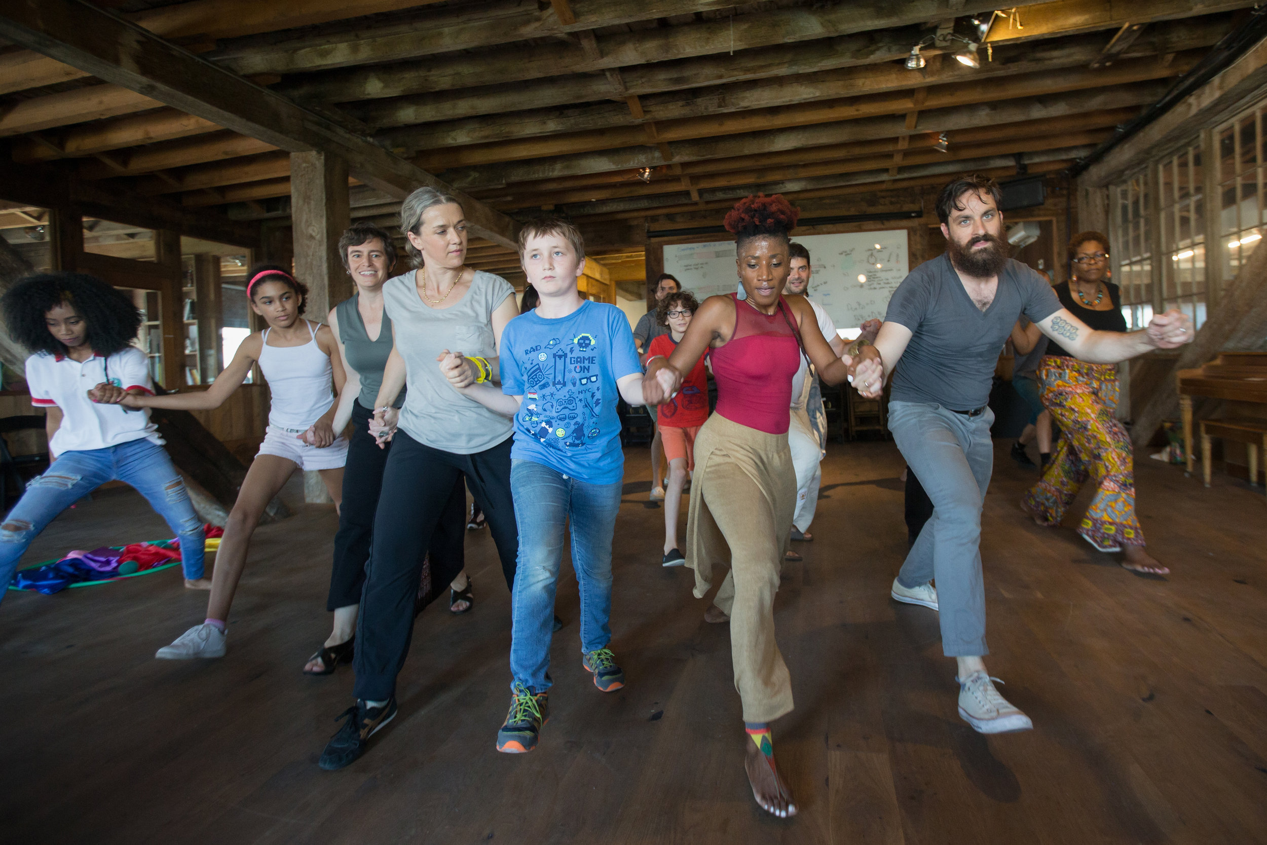 Laura (2nd form right leading a Haitian dance workshop that focused on the Ibo (dance of the name of liberty), Nago (warrior dance), and Yanvalou (ceremonial dance of water) at Pioneer Works.