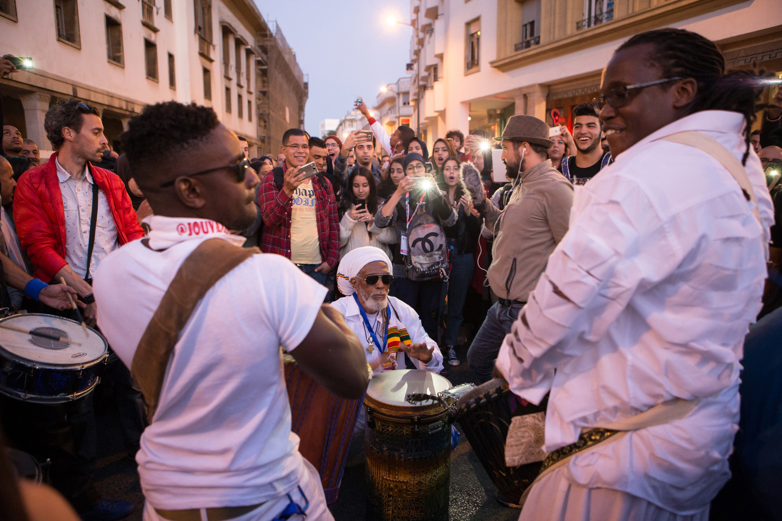JouvayFest drummers delighted passersbys with carnival rhythms on the streets of Rabat