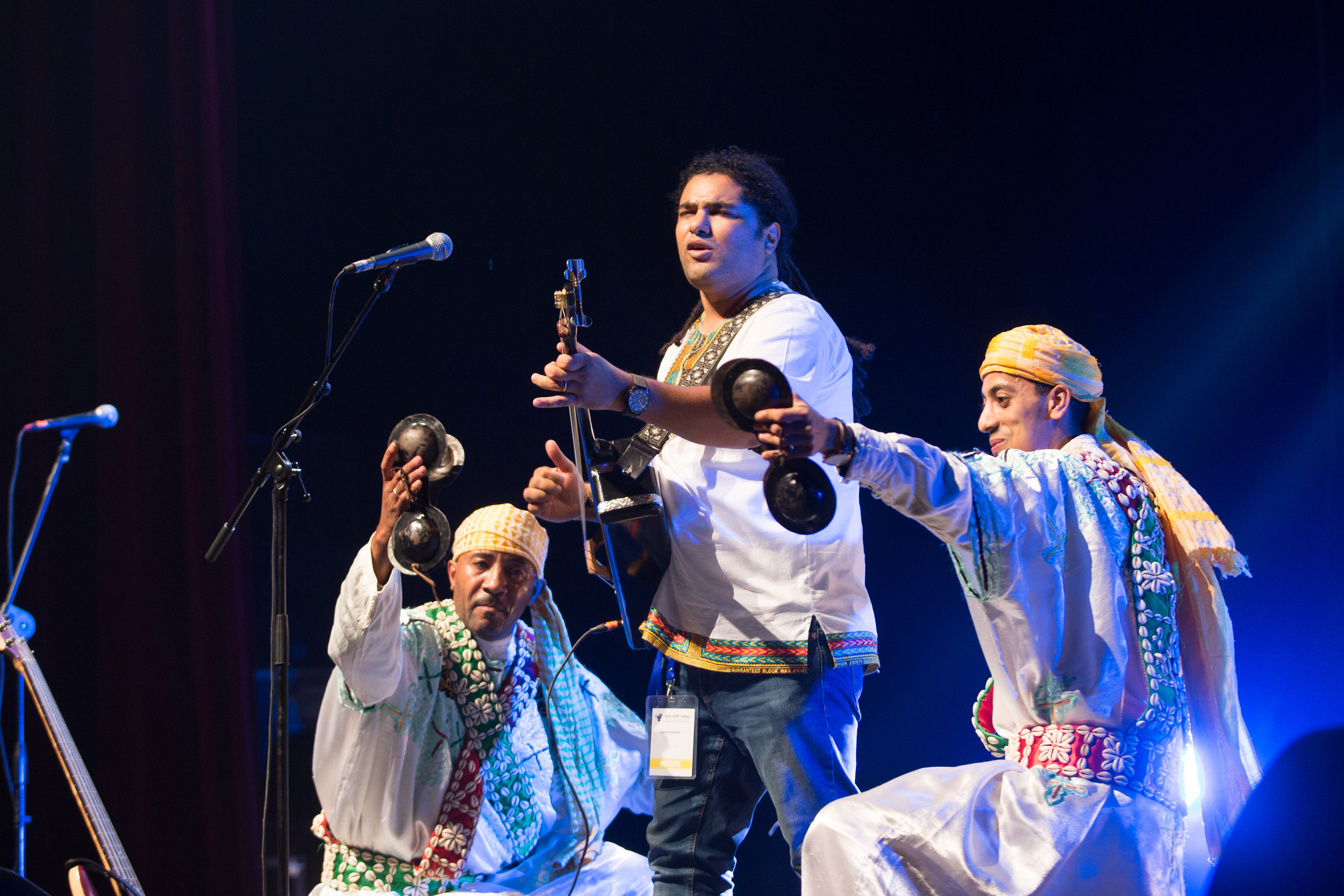 Farid Ghannam, a Moroccan singer from the Gnawa tradition performing onstage at the Mohammed 5 Theater during the Visa For Music Conference and showcase