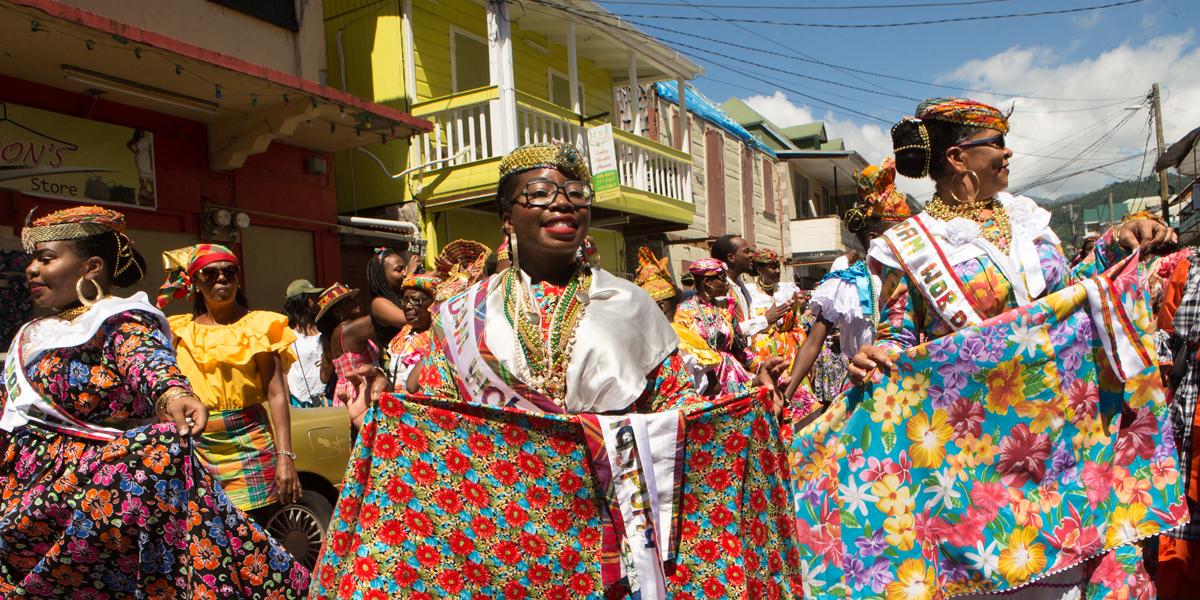 Creole Day parade through the streets of Roseau began the weekend festivities. 2018 Madam Wob Dwiyet Diaspora Zadshire Dupuis, left, and 2018 Madam Wob Dwiyet Louvean Jeremie, right.