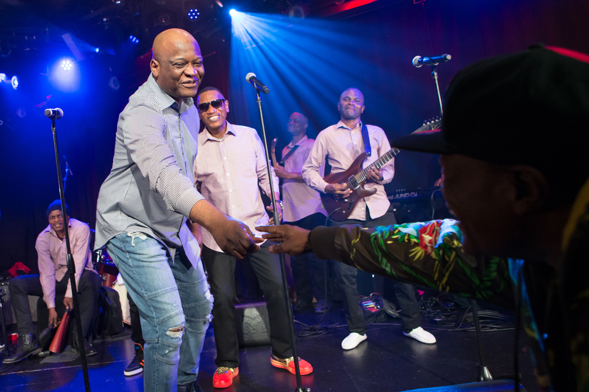 Nyoko Longo reached out into the audience to shake hands with bassist Lokito of the Soukous All Stars