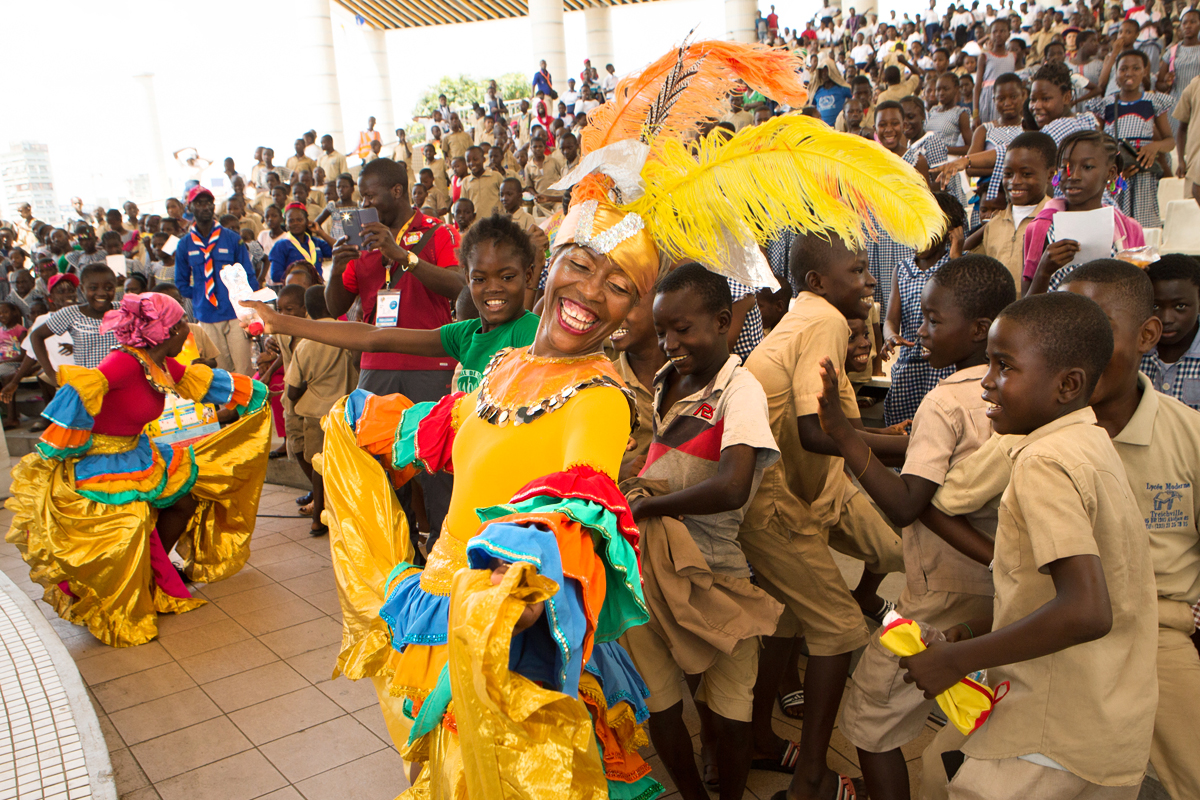 JouvayFest sharing the joy of carnival with school kids in Abidjan. Cote d'Ivoire. JouveyFest is a Brooklyn based Trinidadian carnival collaboration of musicians, Something Positive Dance company and Pagwah Mas jouvert band.
