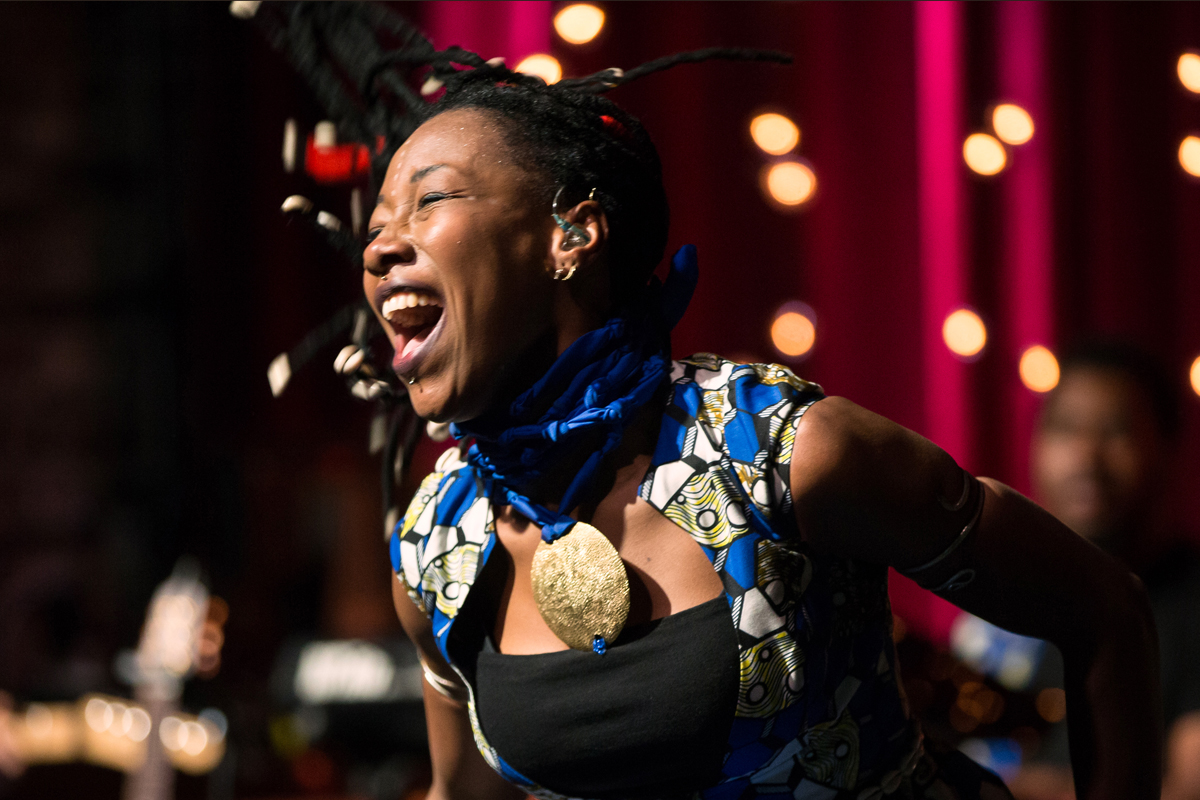 Fatoumata Diawara perfoming at the Brooklyn Bowl April 16th closing the Mali Festival weekend.