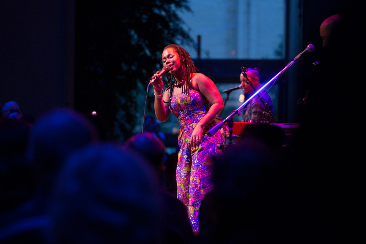 """Elida Almeida at the  Lincoln Center Atrium  June 21st, in her first New York appearance since 2015, perfrmed music from her recently released album """"Kebrada""""."""