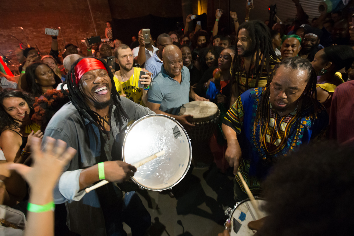 Boukman Eksperyans ending their perfomance with a rara procession through the audience at Pioneer Works in Brooklyn , September 15th.