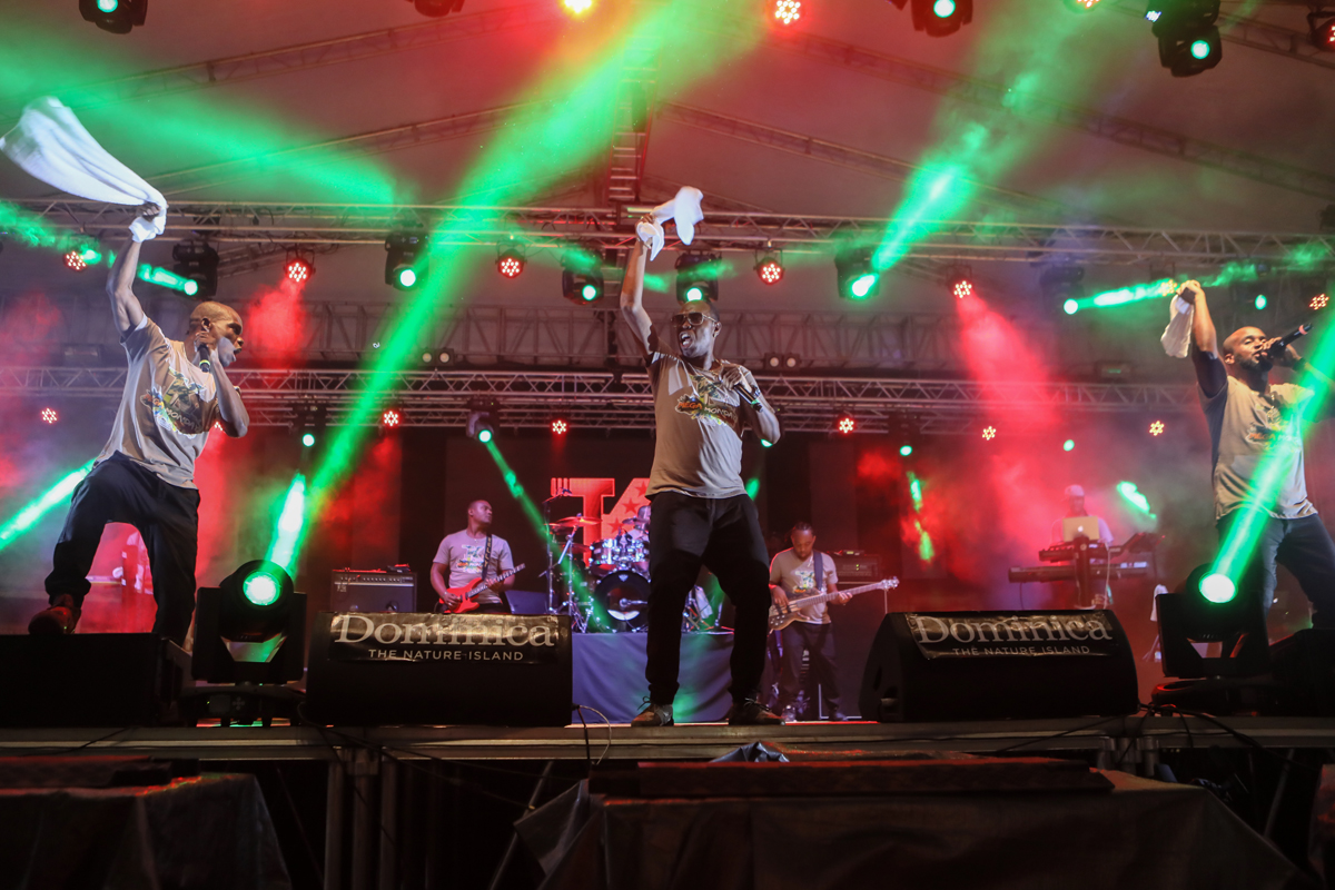 Dominica's Triple Kay International on stage at the World Creole Music Festival, Roseau, October 27th. Their take on  bouyon music a blend of various  regional influences is honed in a razor sharp delivery fronted by three rotating vocalists and choreographed dancers.