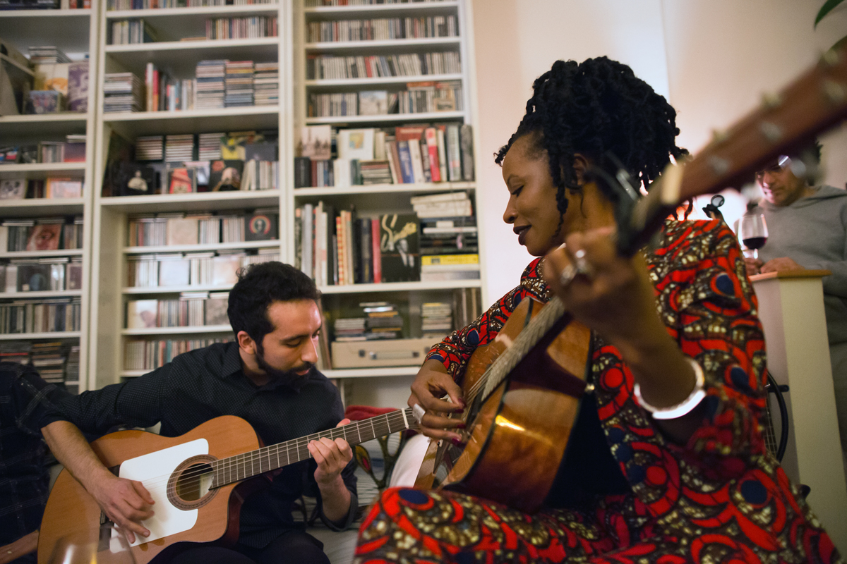 "Amit Peled and Natu Camara performing a few songs from ""Dimedi"" at the video preview party"