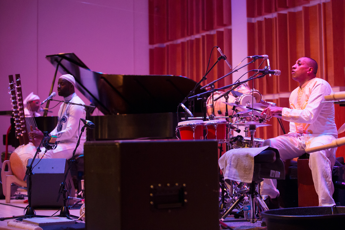 Transparent Water Trio (L-R) Omar Sosa, piano, vocals; Seckou Keita, Kora, lead vocals; and Gustavo Ovalles percussion, vocals