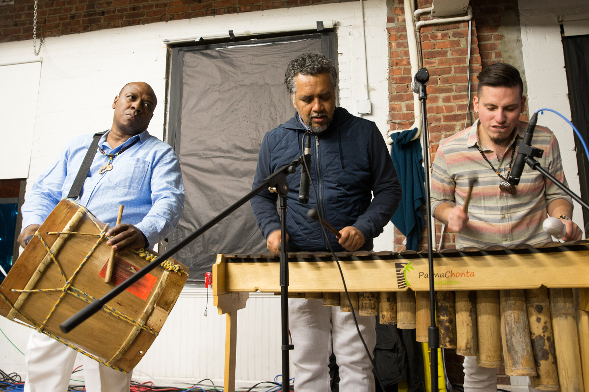 The Bahia Trio: Hugo Candelario, center, with Jafet Andrade on the Bombo, left and Juan Bas.