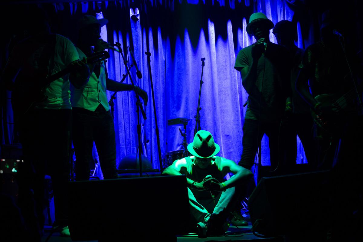 "Mathias Muzaza singing ""Munaye,"" an acapella song remembering his parents at Subrosa in Manhattan"