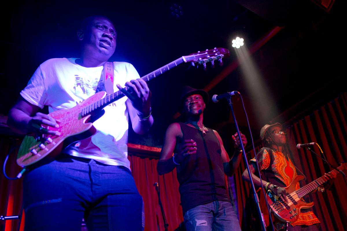Mokoomba guitarist Trustworth Samende, lead vocalist  Mathias Muzaza and bassist  Abundance Mutori