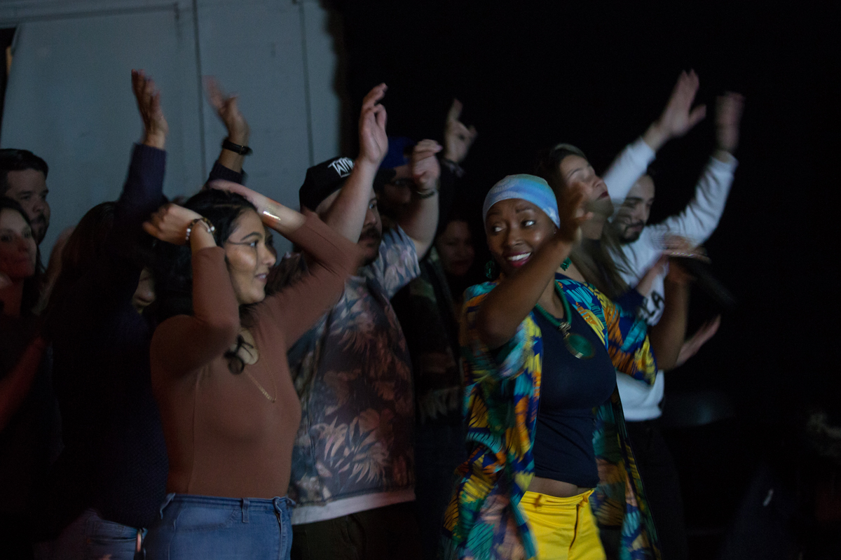Nidia Gongora and audience members at 200 Morgan Avenue in Brooklyn