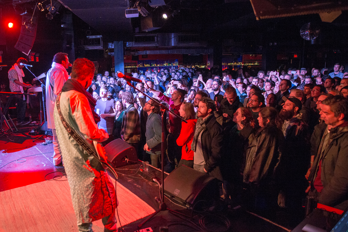 Bombino and audience at Le Poisson Rouge in Manhattan.