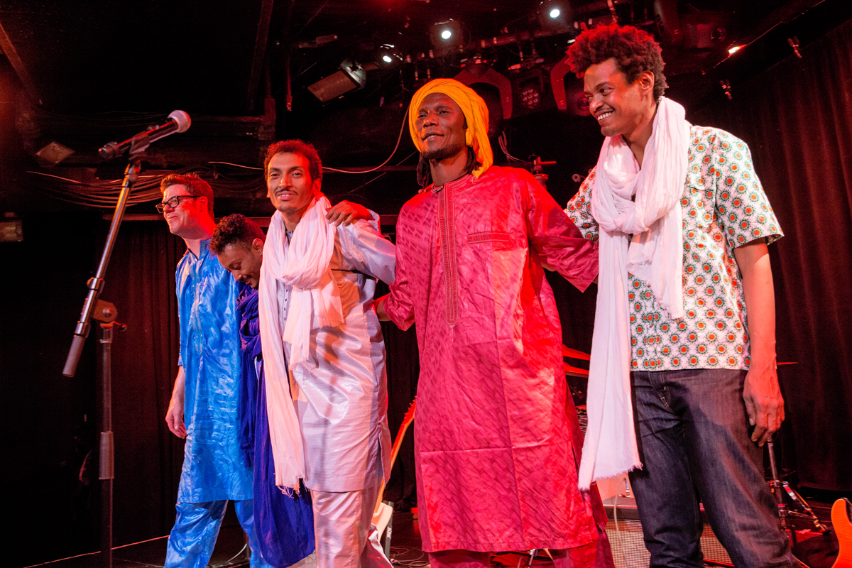 (L-R) Corey Wilhelm on drums, Illias Mohamed Alhassane on guitar, Bombino (Omara Moctar) guitar and lead vocals, Youba Dia on bass on percussion and Mohammed Araki on keyboard.