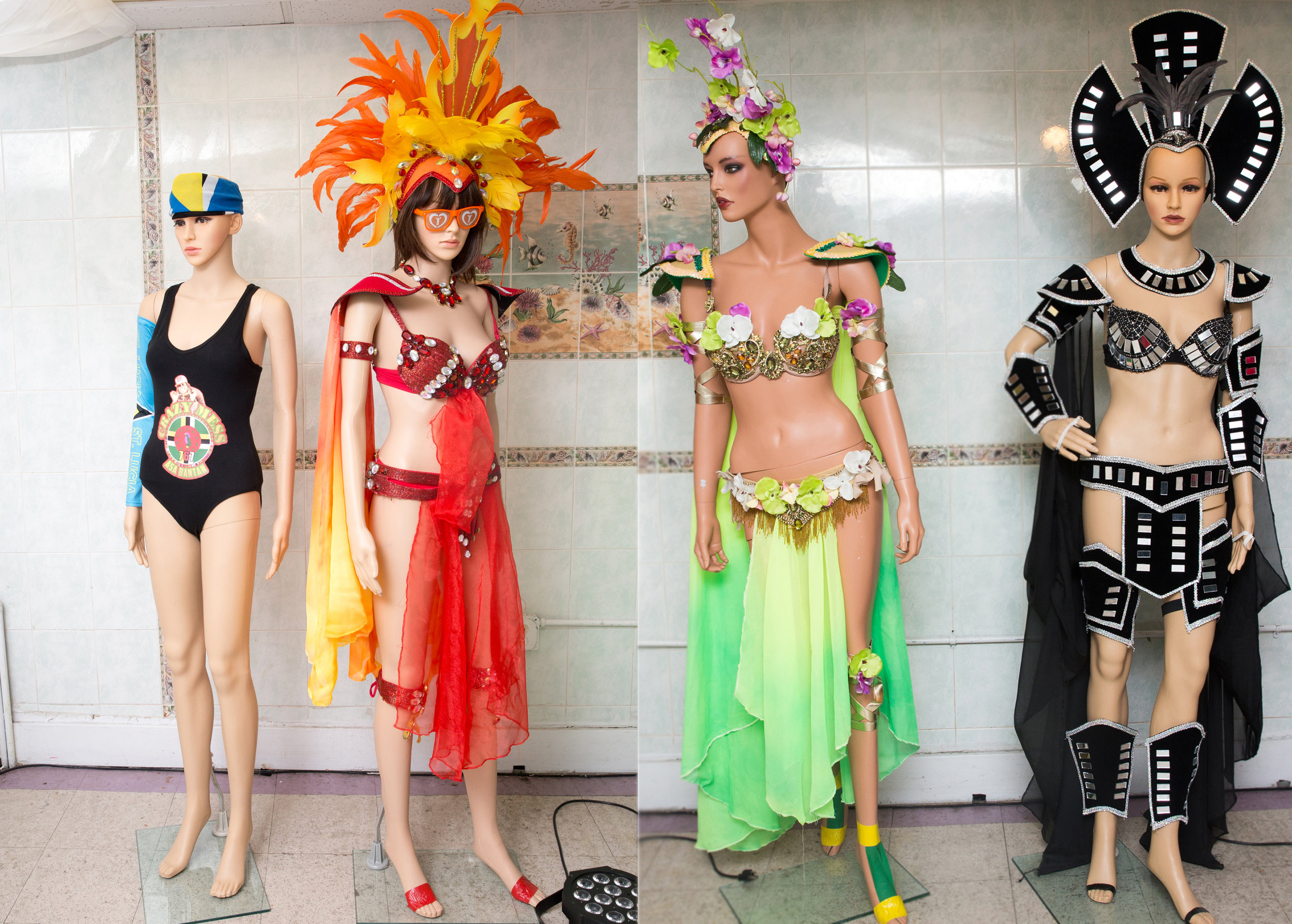 Trinidadian made carnival costumes on display at 204 Parkside Avenue is a modern option for Resiliance Mas masqueraraders.