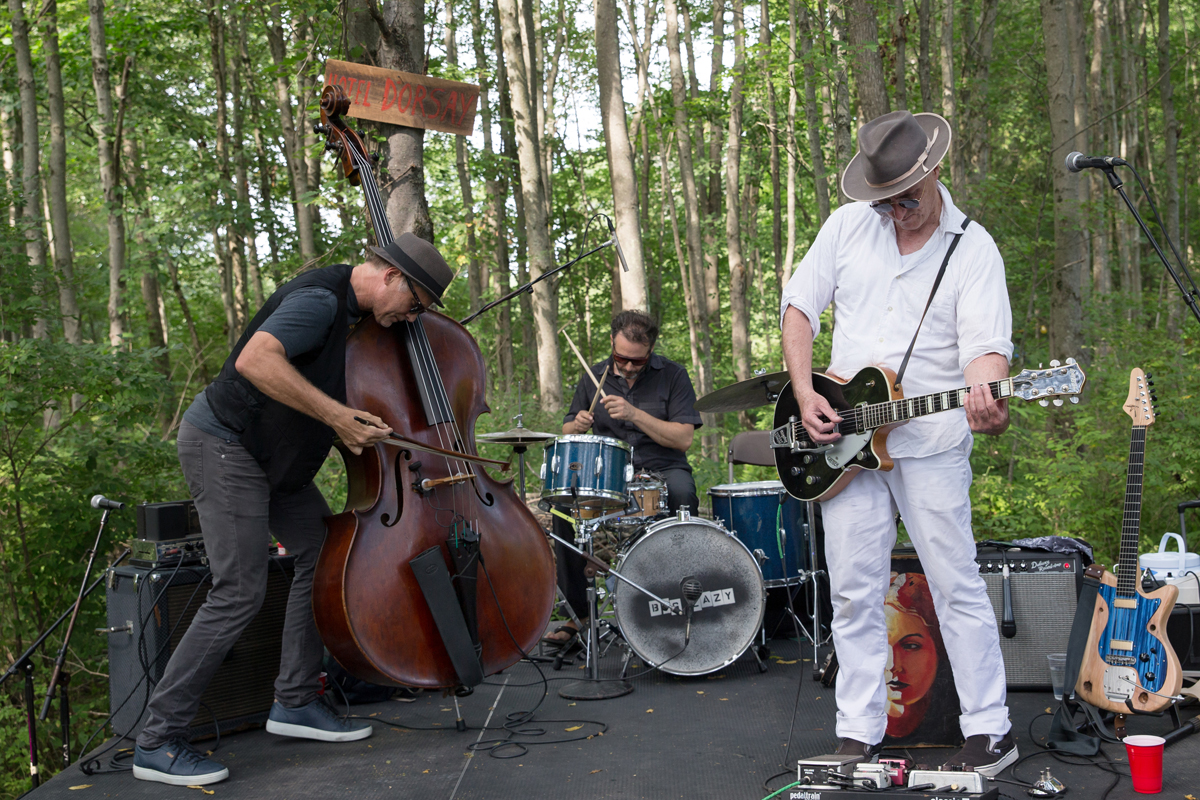Big Lazy, (Andrew Hall, bass;   Y  uval Lion, drums; and Stephen Ulrich guitar) performing on the Grove stage at Barbès in the Woods